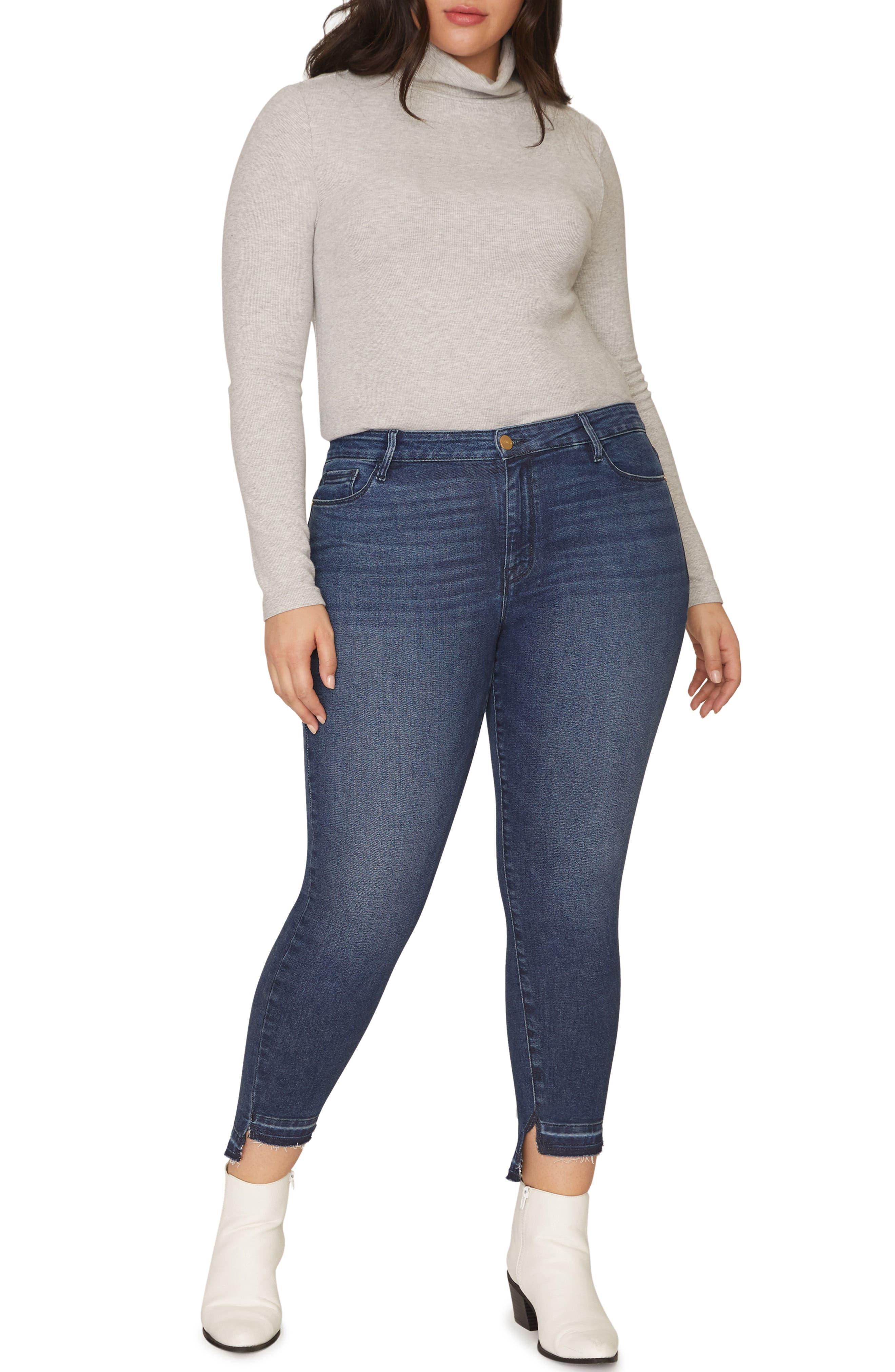 Social Standard Release Hem Ankle Skinny Jeans,                             Alternate thumbnail 6, color,                             ELYSIAN BLUE