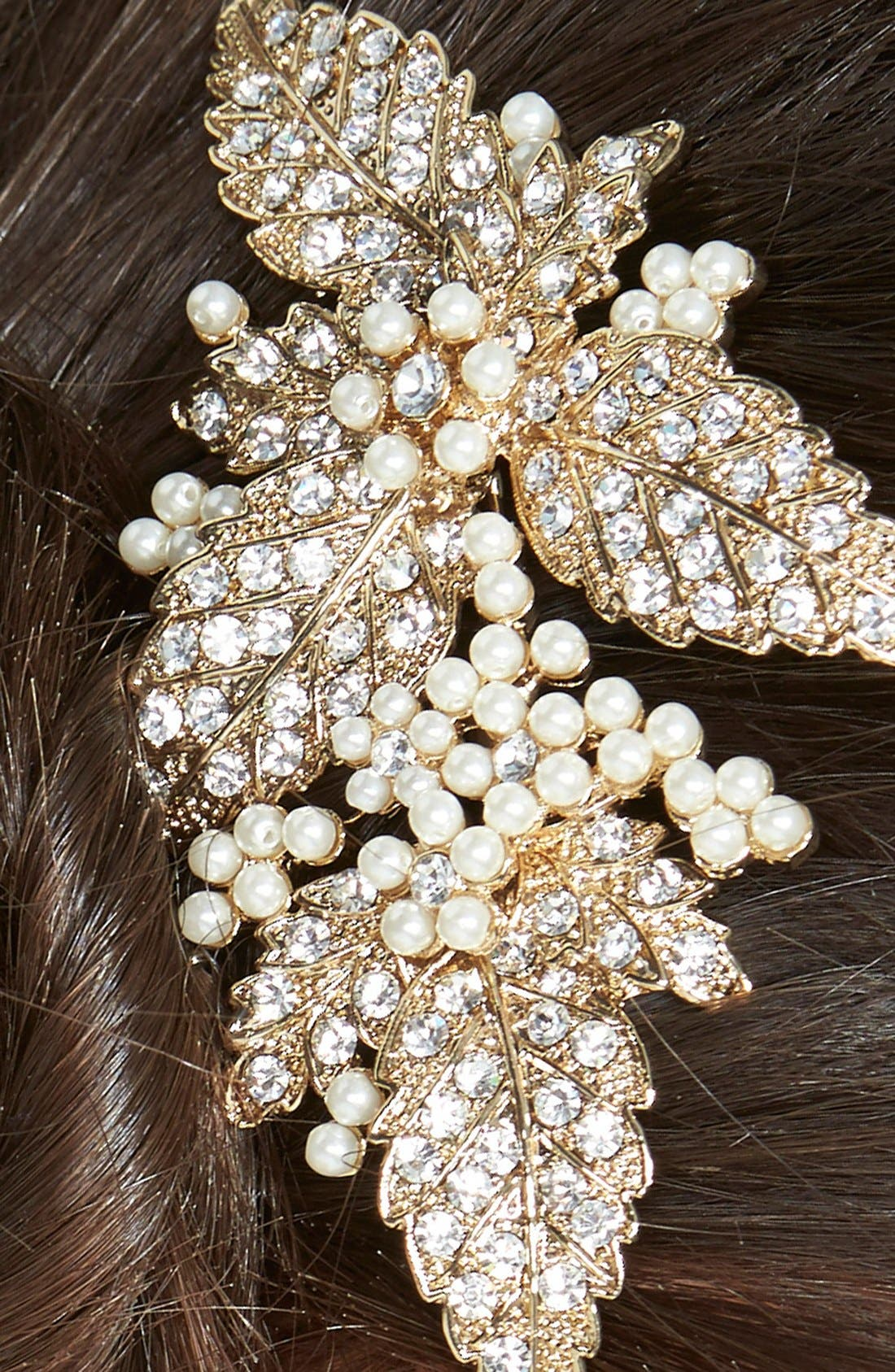 Glass Pearl Hair Comb,                             Alternate thumbnail 4, color,