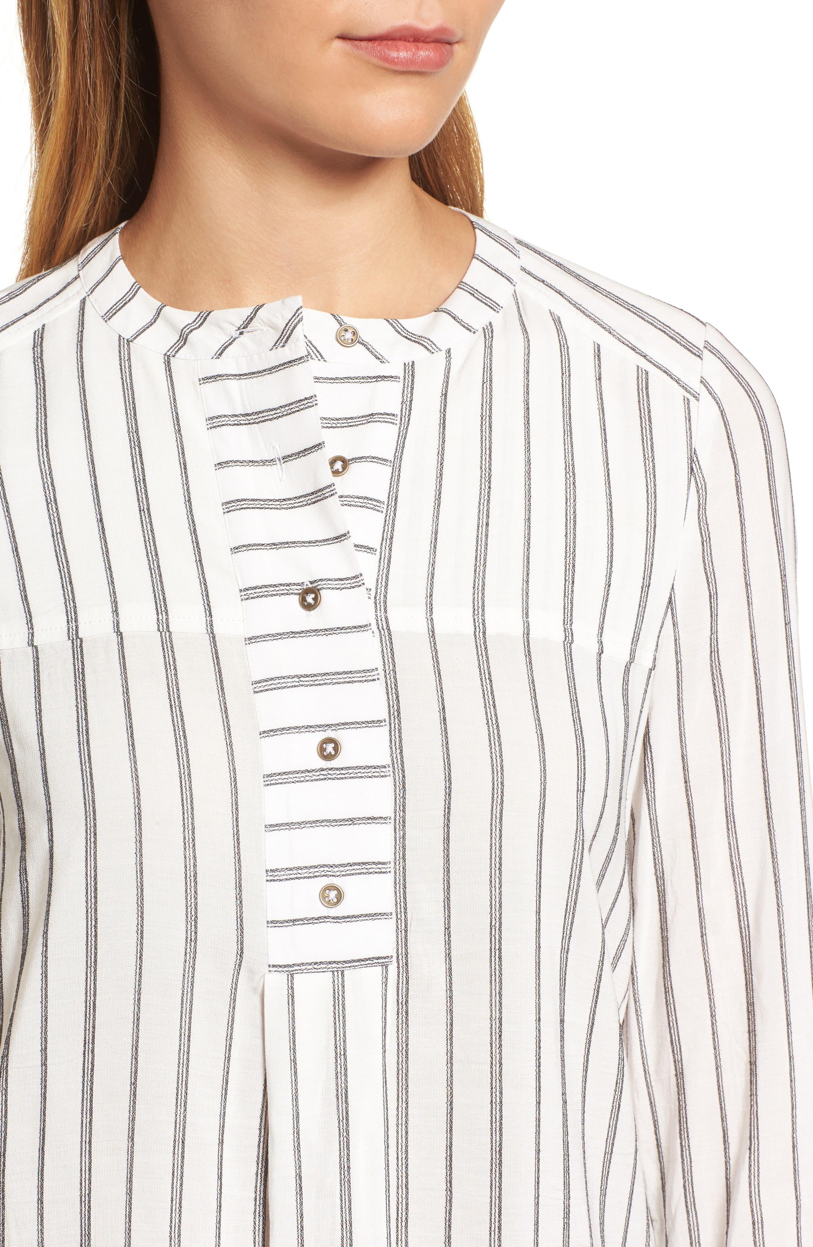 Woven Stripe Top,                             Alternate thumbnail 4, color,                             110