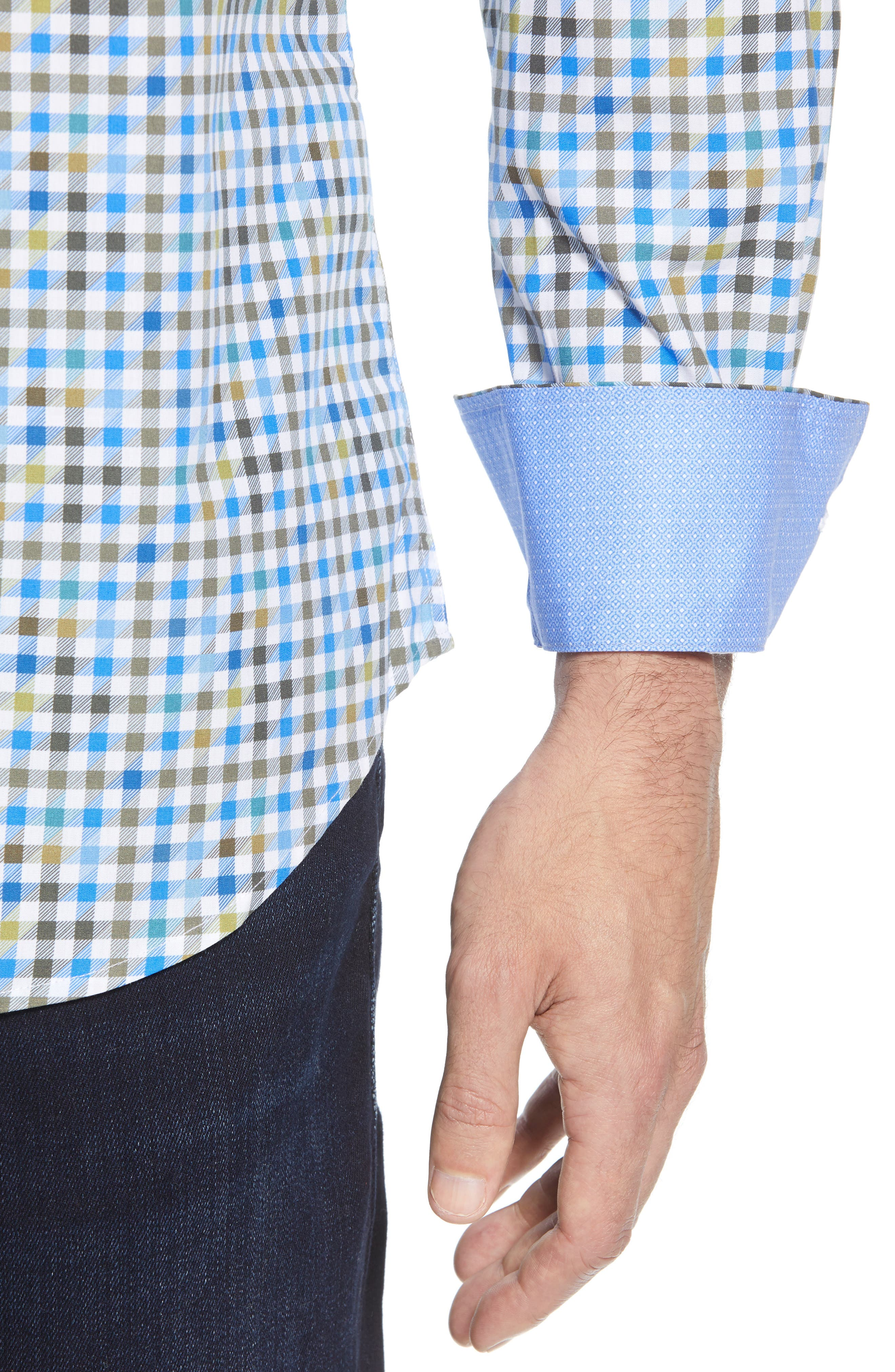 Shaped Fit Print Sport Shirt,                             Alternate thumbnail 2, color,                             OLIVE