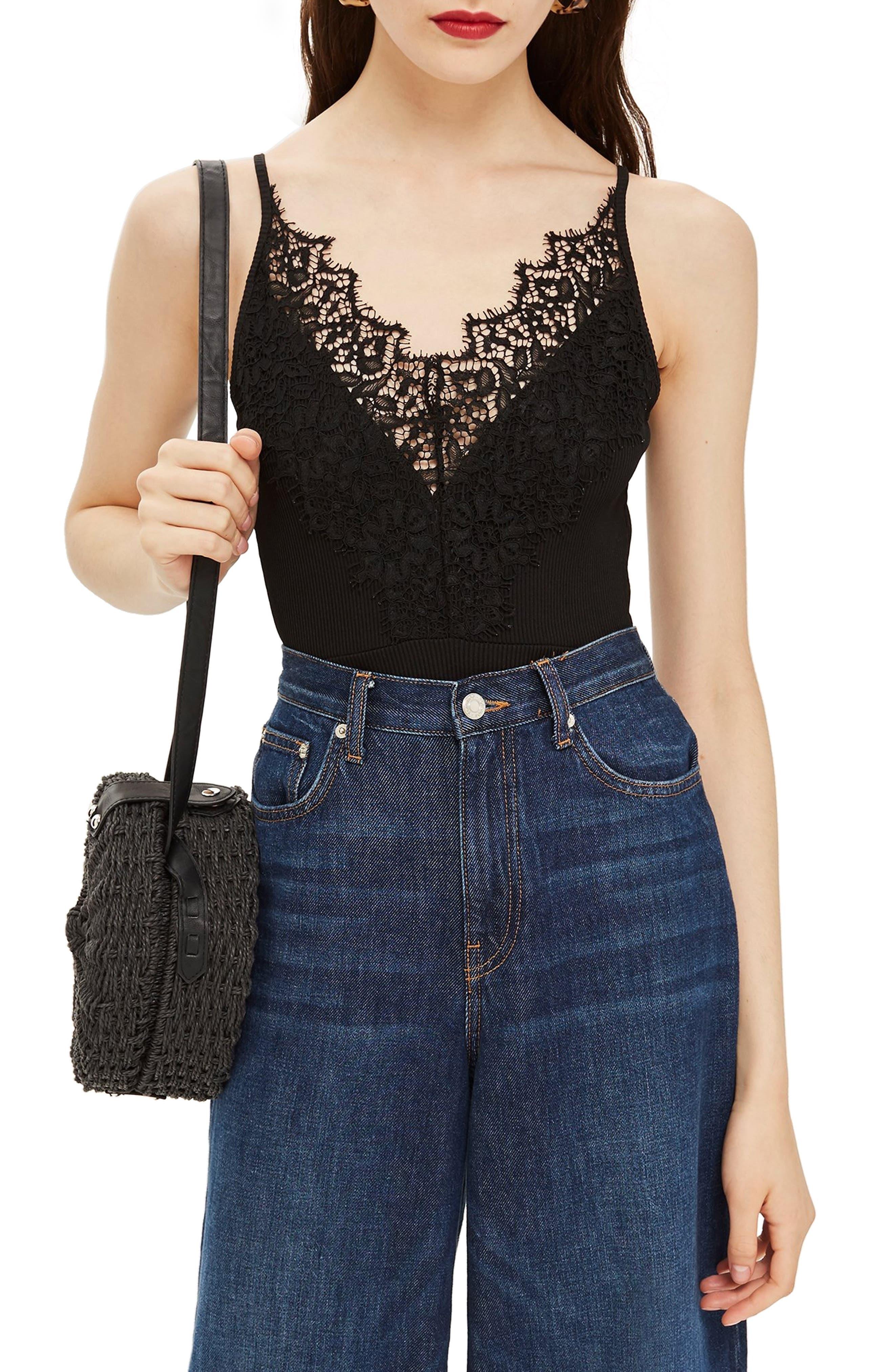 Strappy Lace Trim Bodysuit,                             Main thumbnail 1, color,                             BLACK
