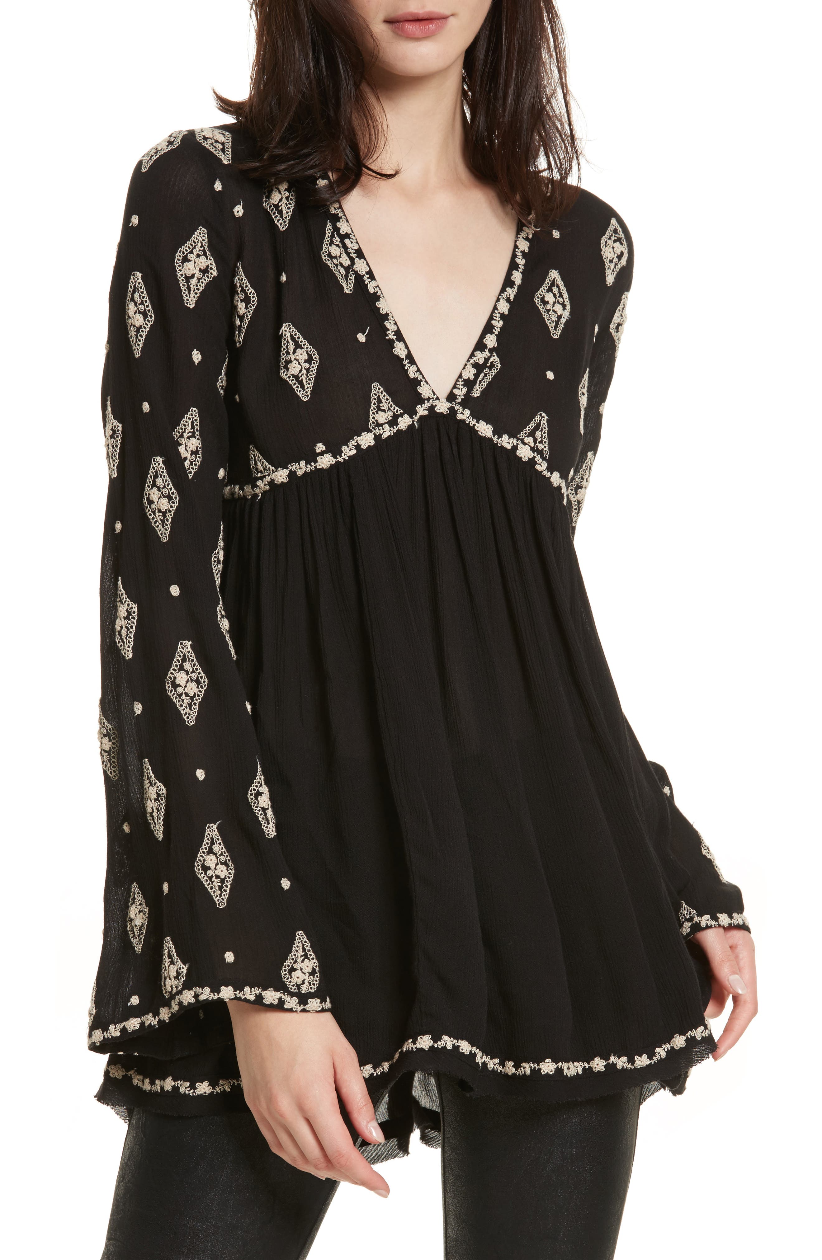Embroidered Bell Sleeve Top,                             Main thumbnail 4, color,