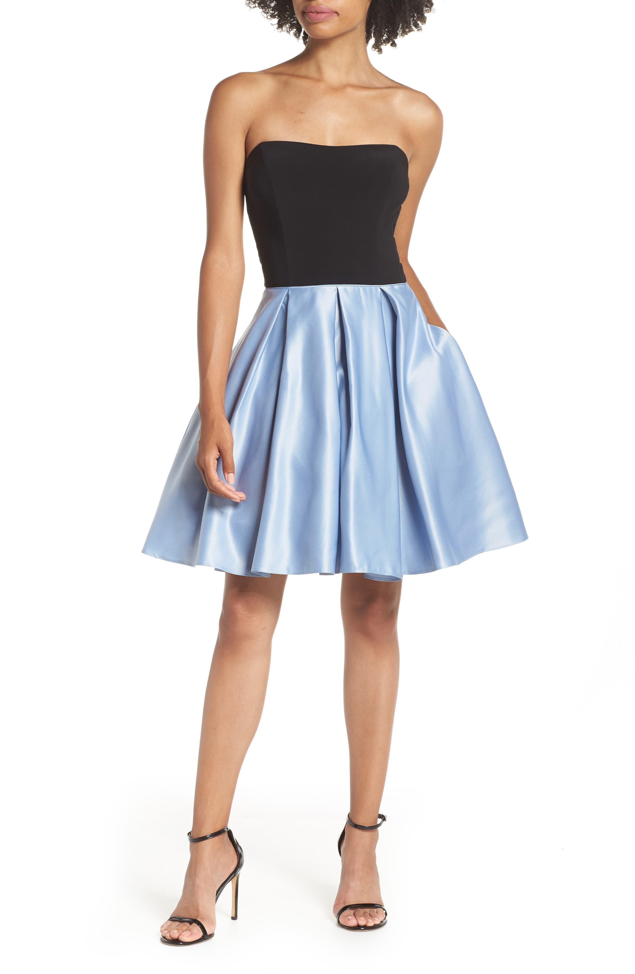 Blondie Nites Strapless Satin Skirt Fit & Flare Dress, Blue