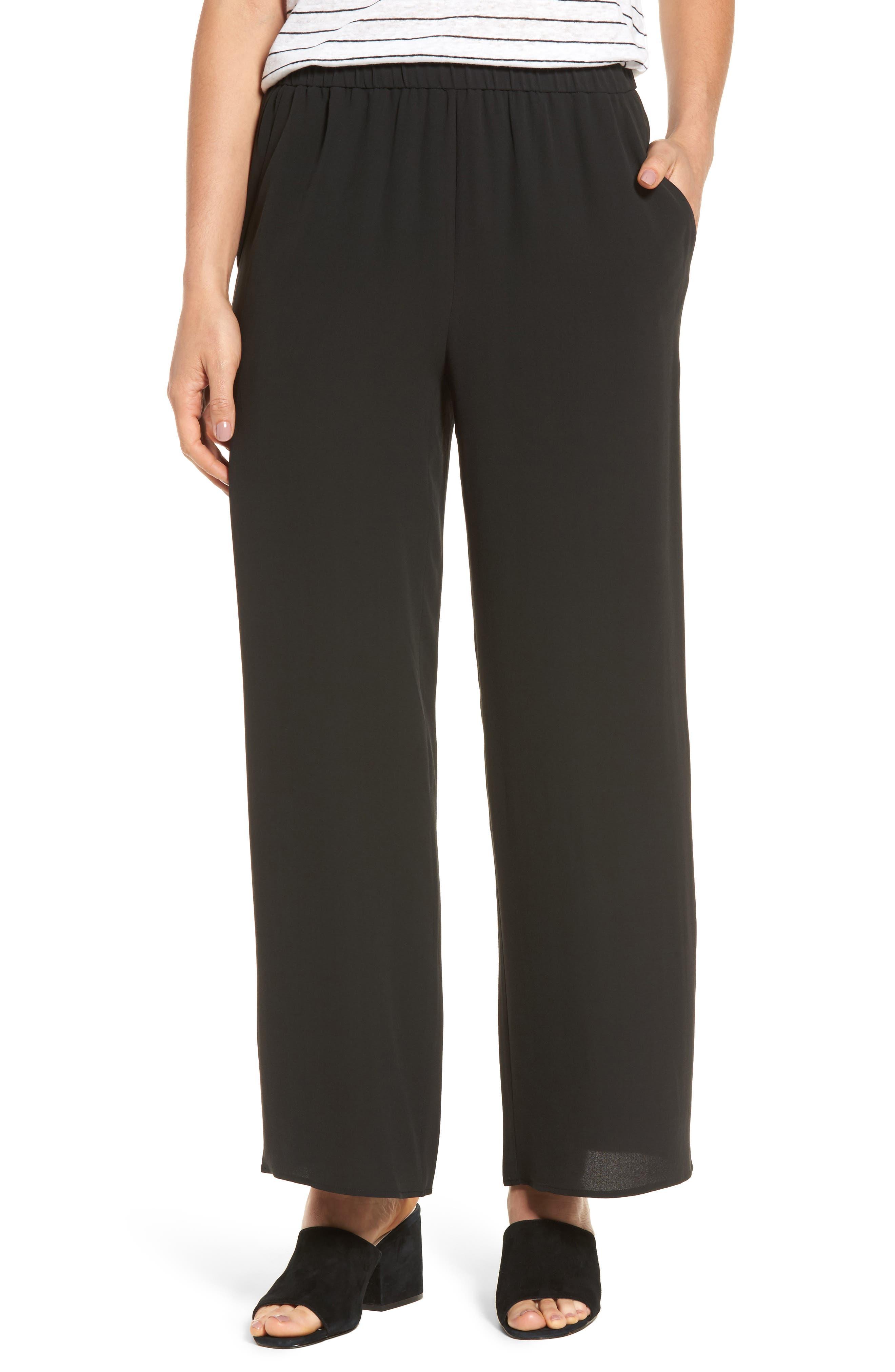 Wide Leg Silk Pants,                         Main,                         color, 001