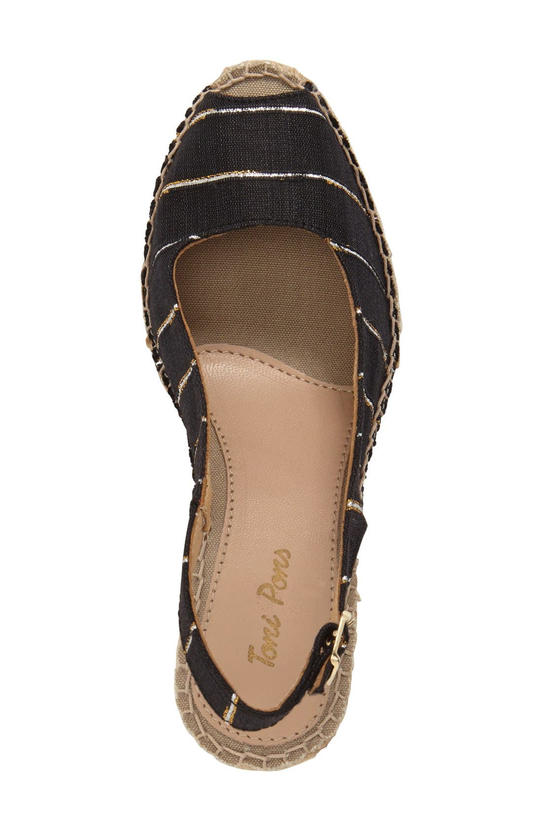 'Carmina' Silk Slingback Wedge Sandal,                             Alternate thumbnail 2, color,                             BLACK STRIPE