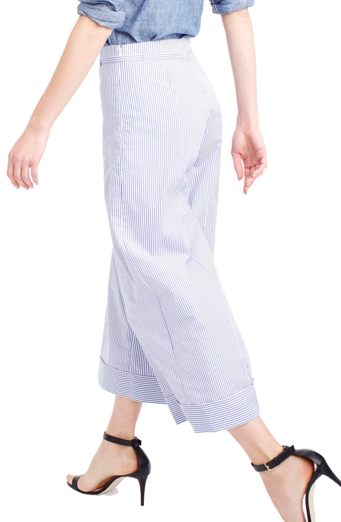 Stripe Wide Leg Crop Pants,                             Alternate thumbnail 2, color,                             400