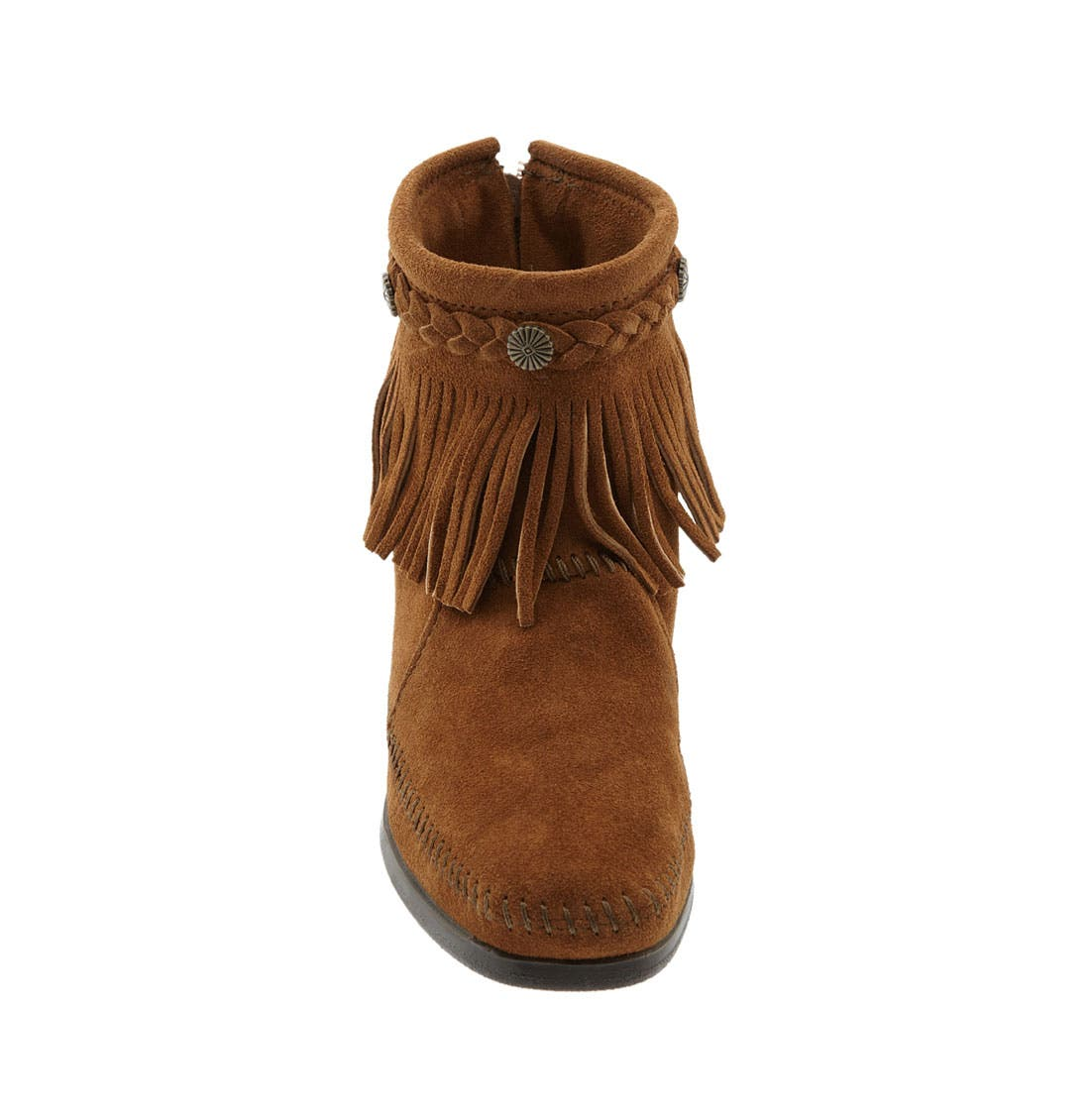Fringed Moccasin Bootie,                             Alternate thumbnail 6, color,                             BROWN
