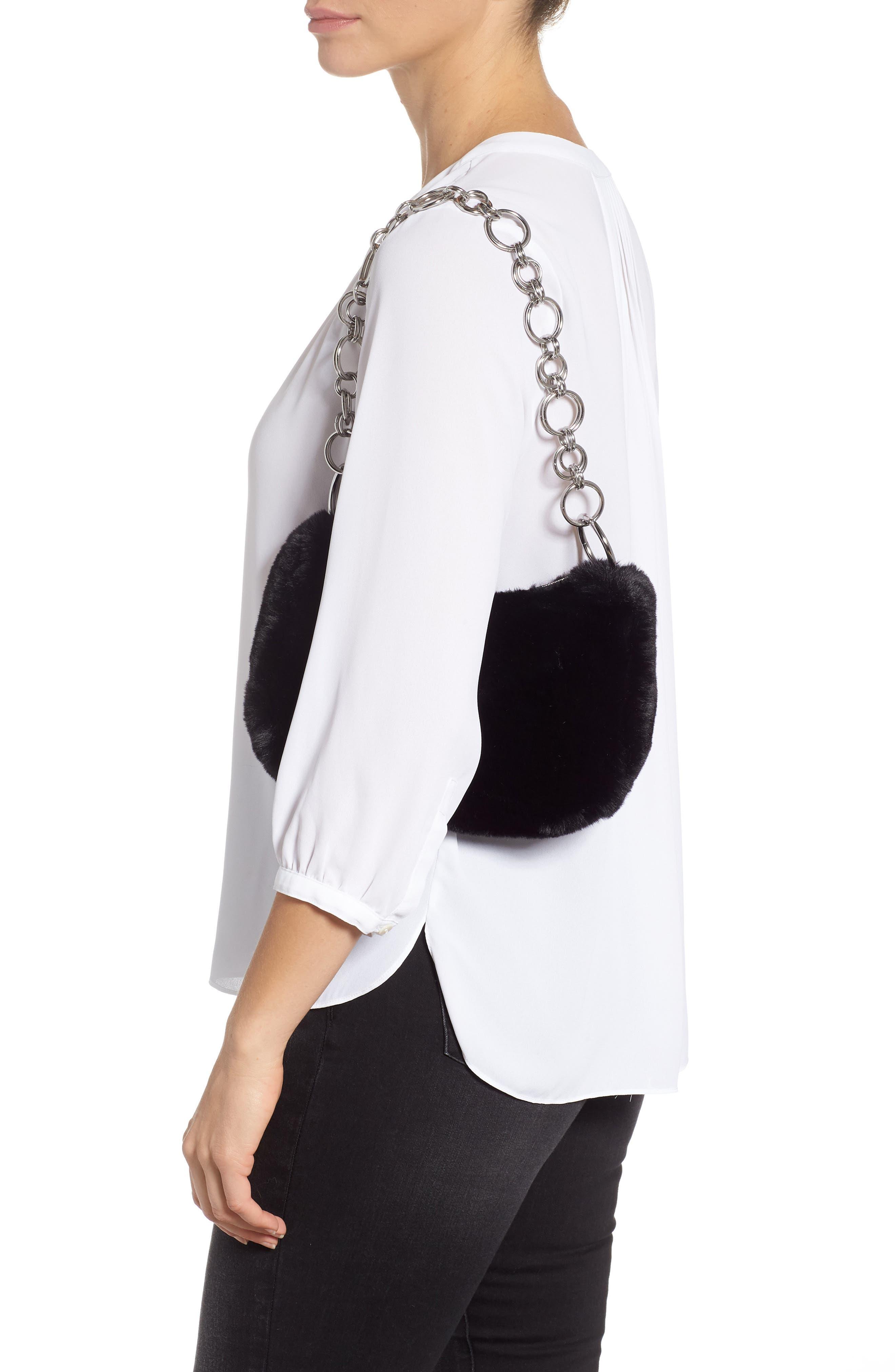 Faux Fur Shoulder Bag,                             Alternate thumbnail 2, color,                             BLACK