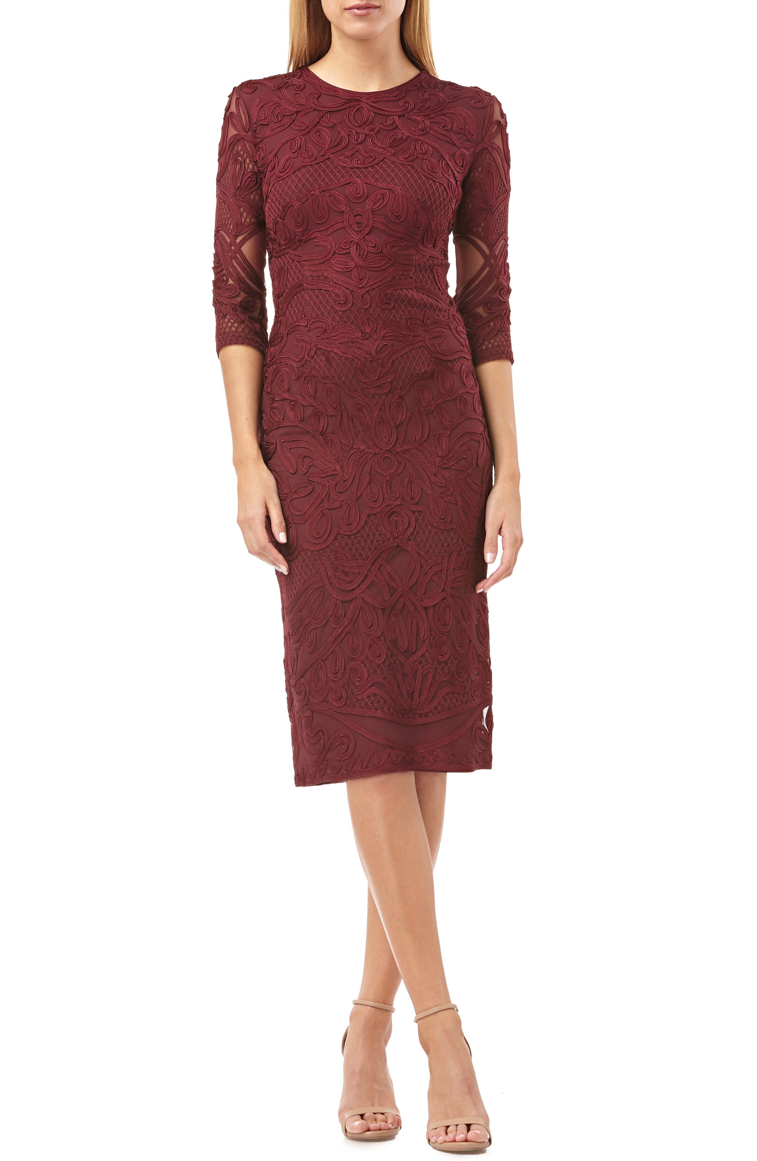 Js Collections Soutache Sheath Dress, Burgundy