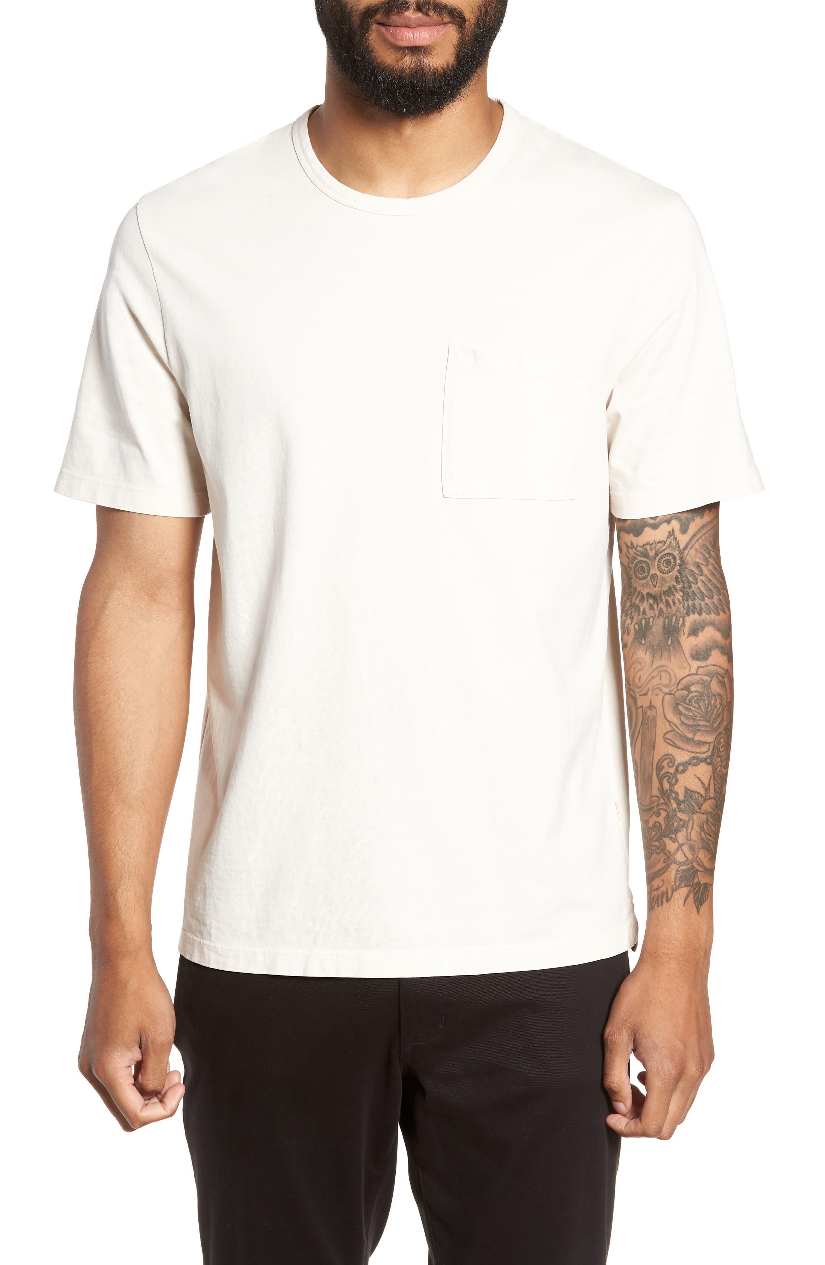 Regular Fit Garment Dye Pocket T-Shirt,                         Main,                         color, SAIL