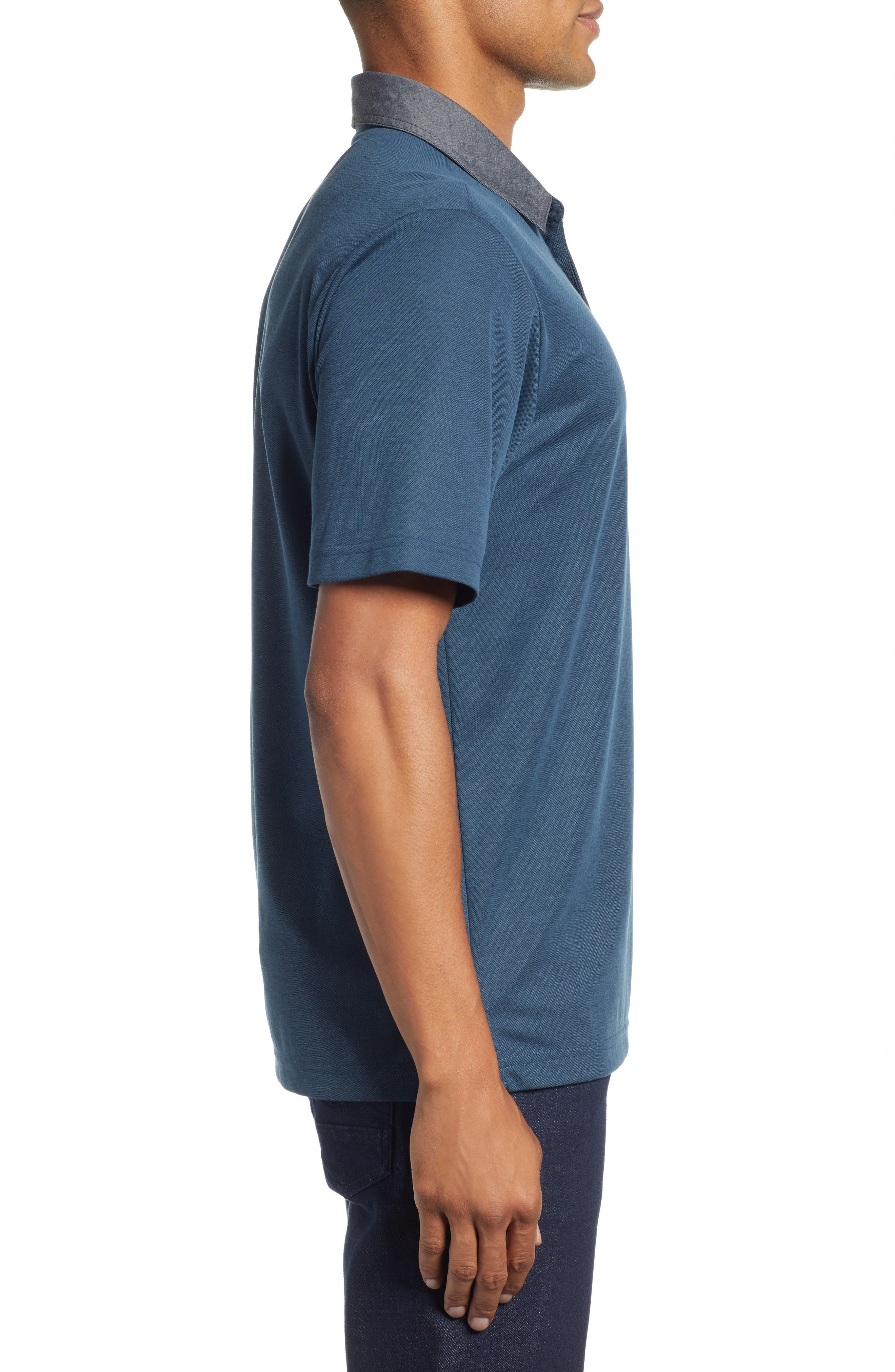 Change the Game Regular Fit Polo,                             Alternate thumbnail 3, color,                             BLUE WING TEAL/ BLACK