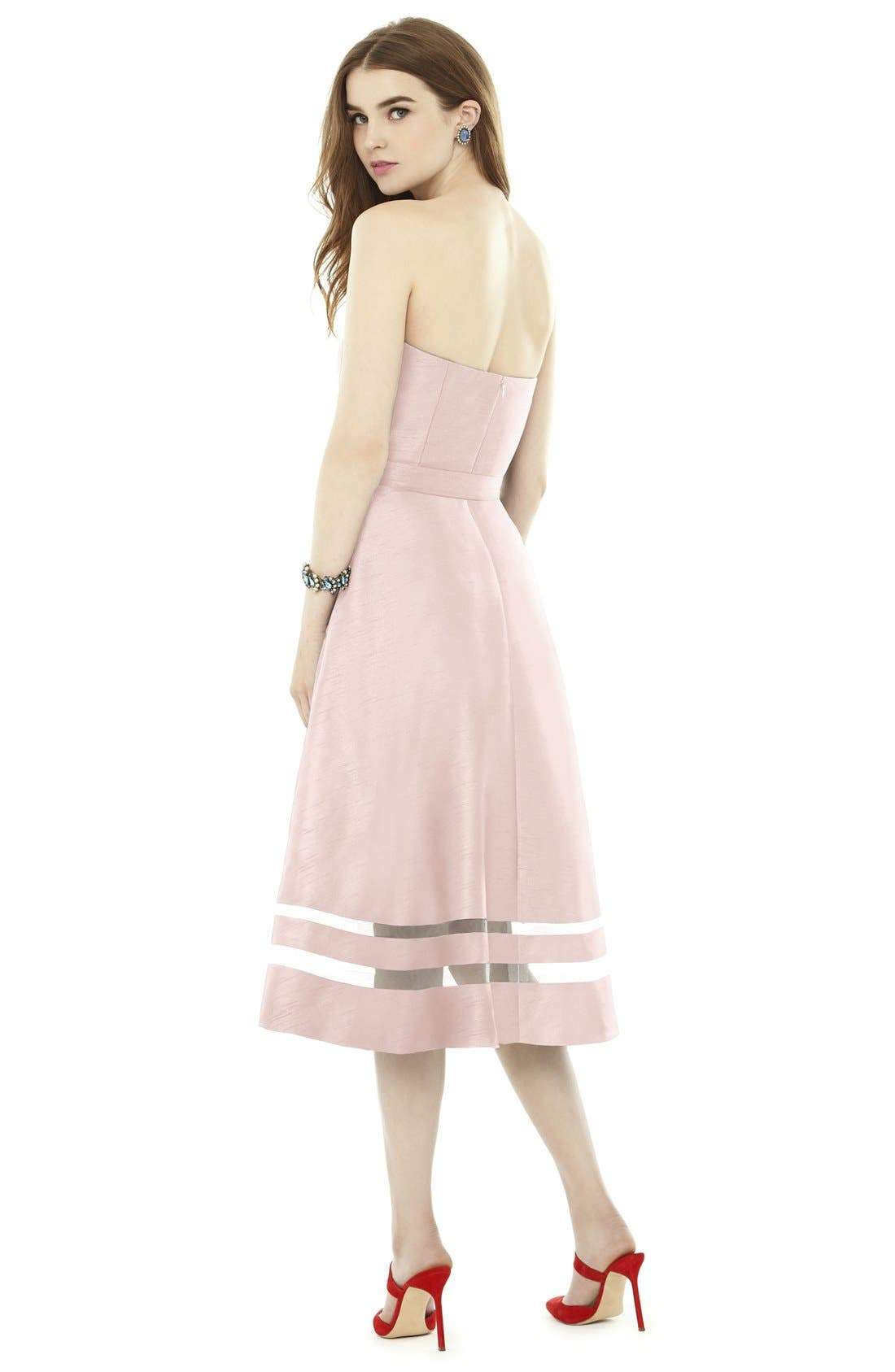Illusion Stripe Strapless A-Line Midi Dress,                             Alternate thumbnail 7, color,