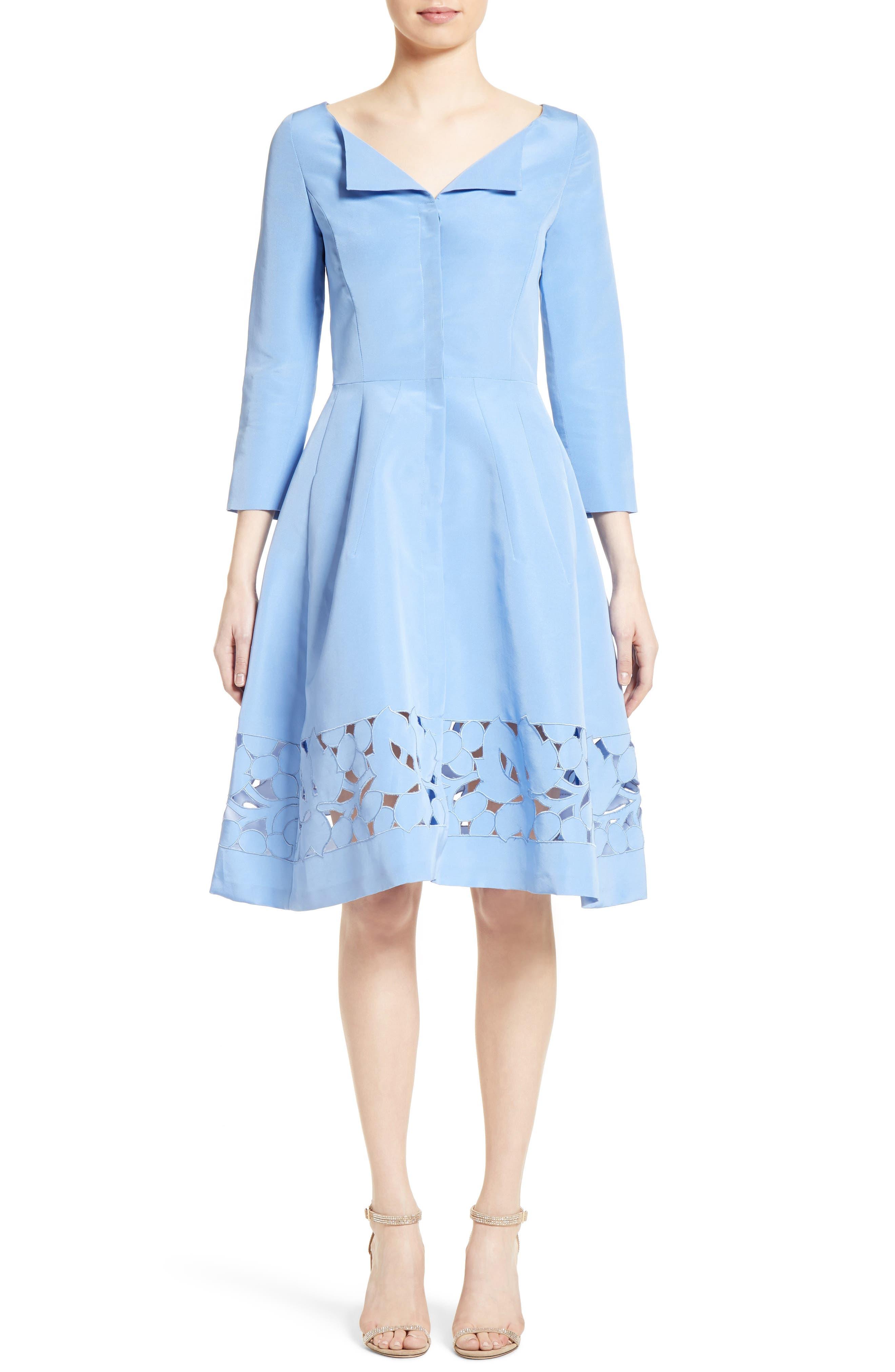 Carolina Herrerra Laser Cut Eyelet Button Front Dress,                             Alternate thumbnail 5, color,                             400