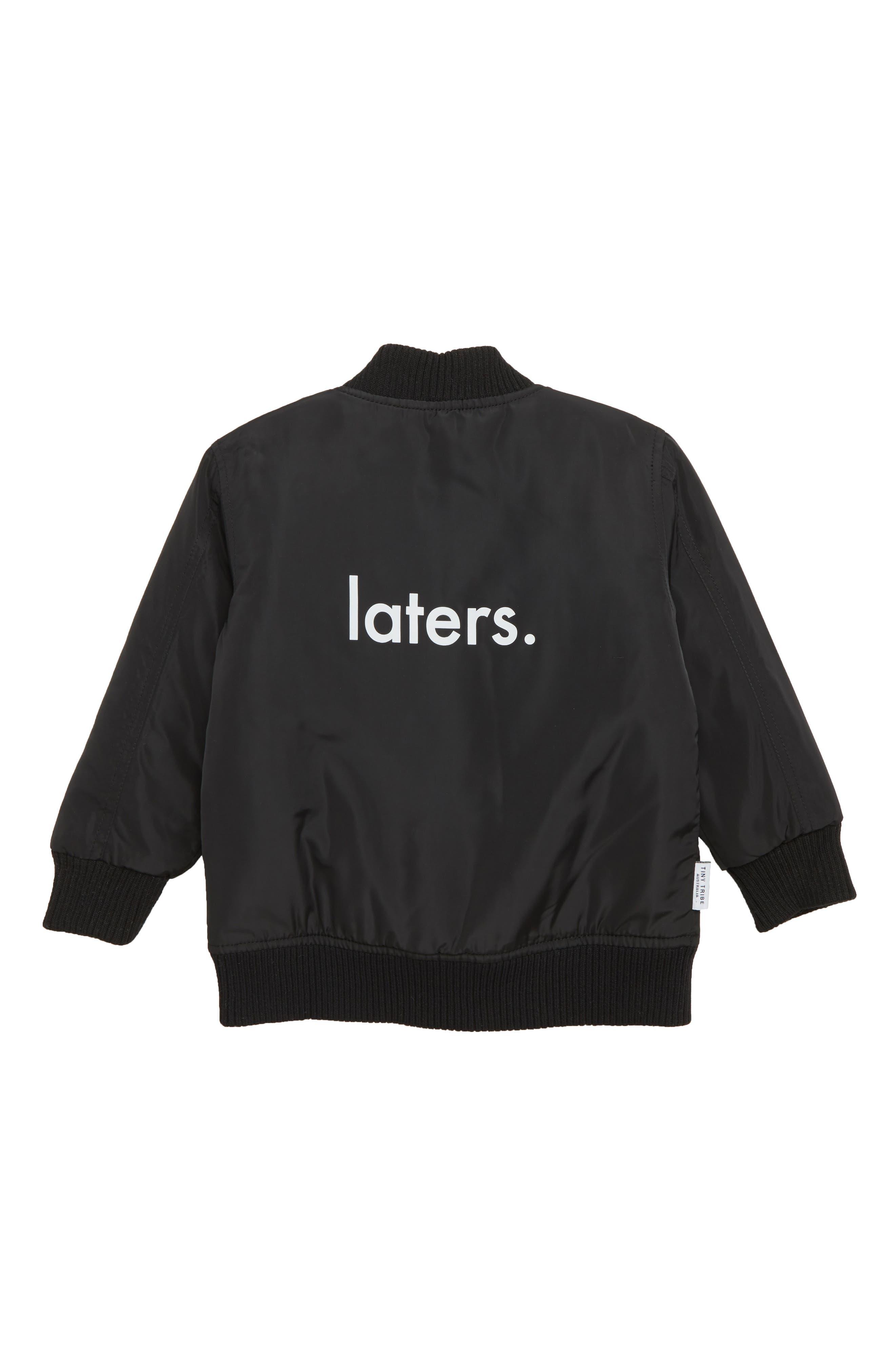 Laters Bomber Jacket,                             Alternate thumbnail 2, color,                             BLACK