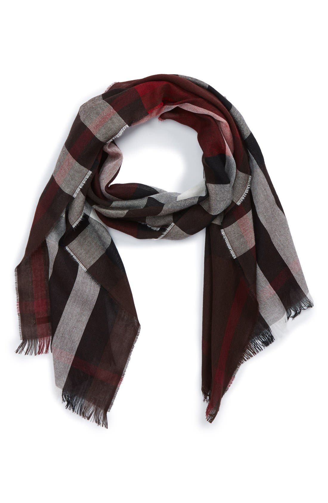 Check Wool & Cashmere Scarf,                             Main thumbnail 1, color,                             602