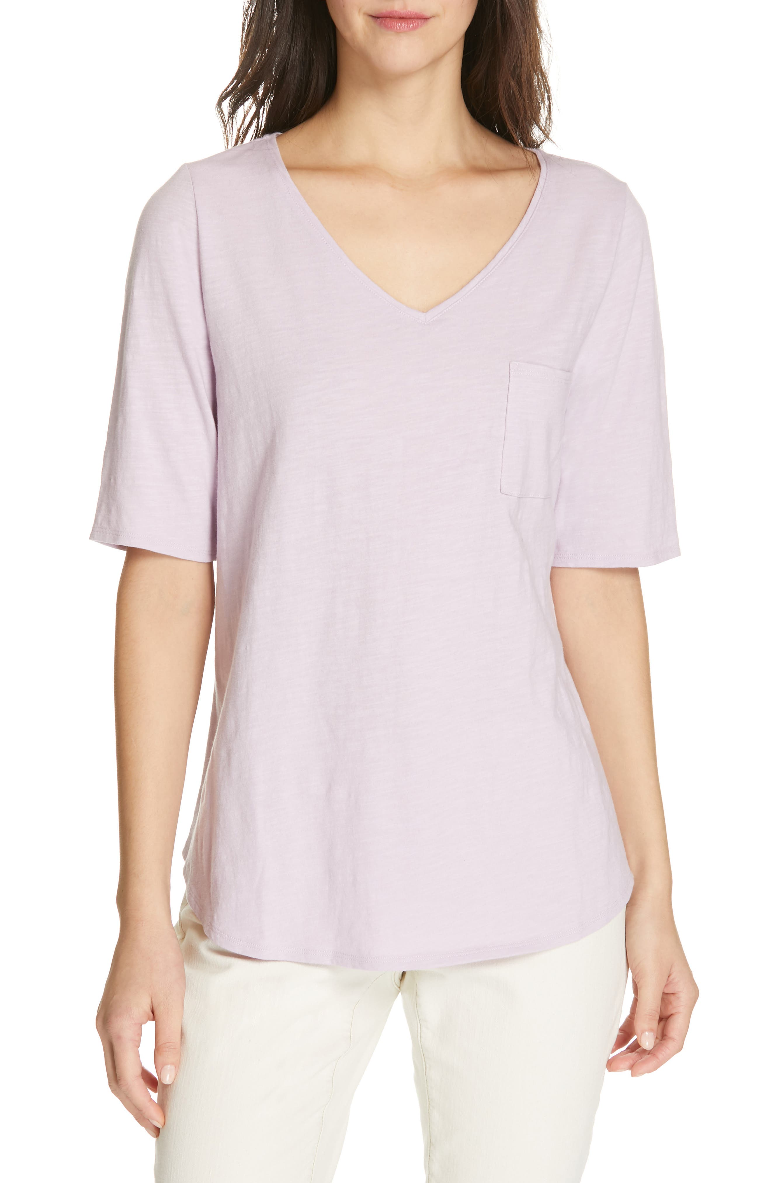 Eileen Fisher V-Neck Organic Cotton Tee, Purple