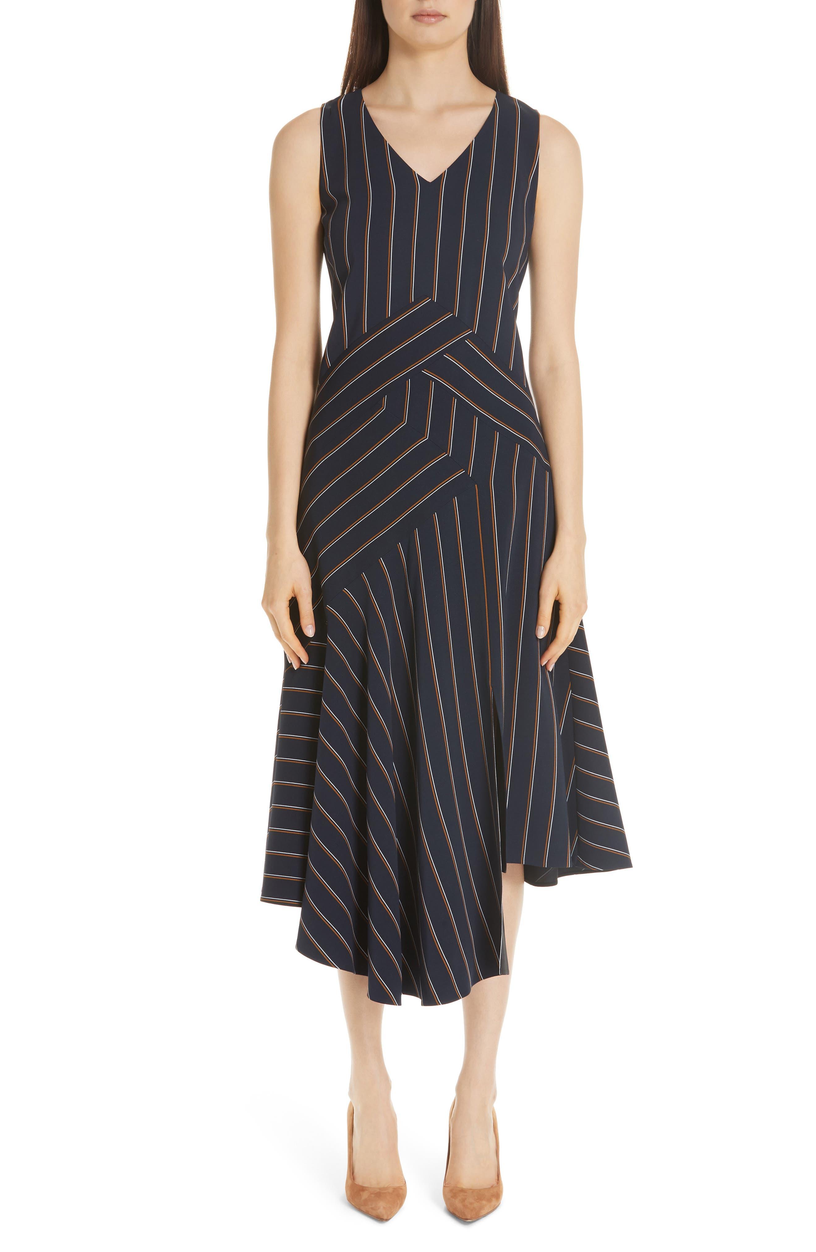 Ashlena Asymmetrical Stripe Dress,                             Main thumbnail 1, color,                             INK MULTI