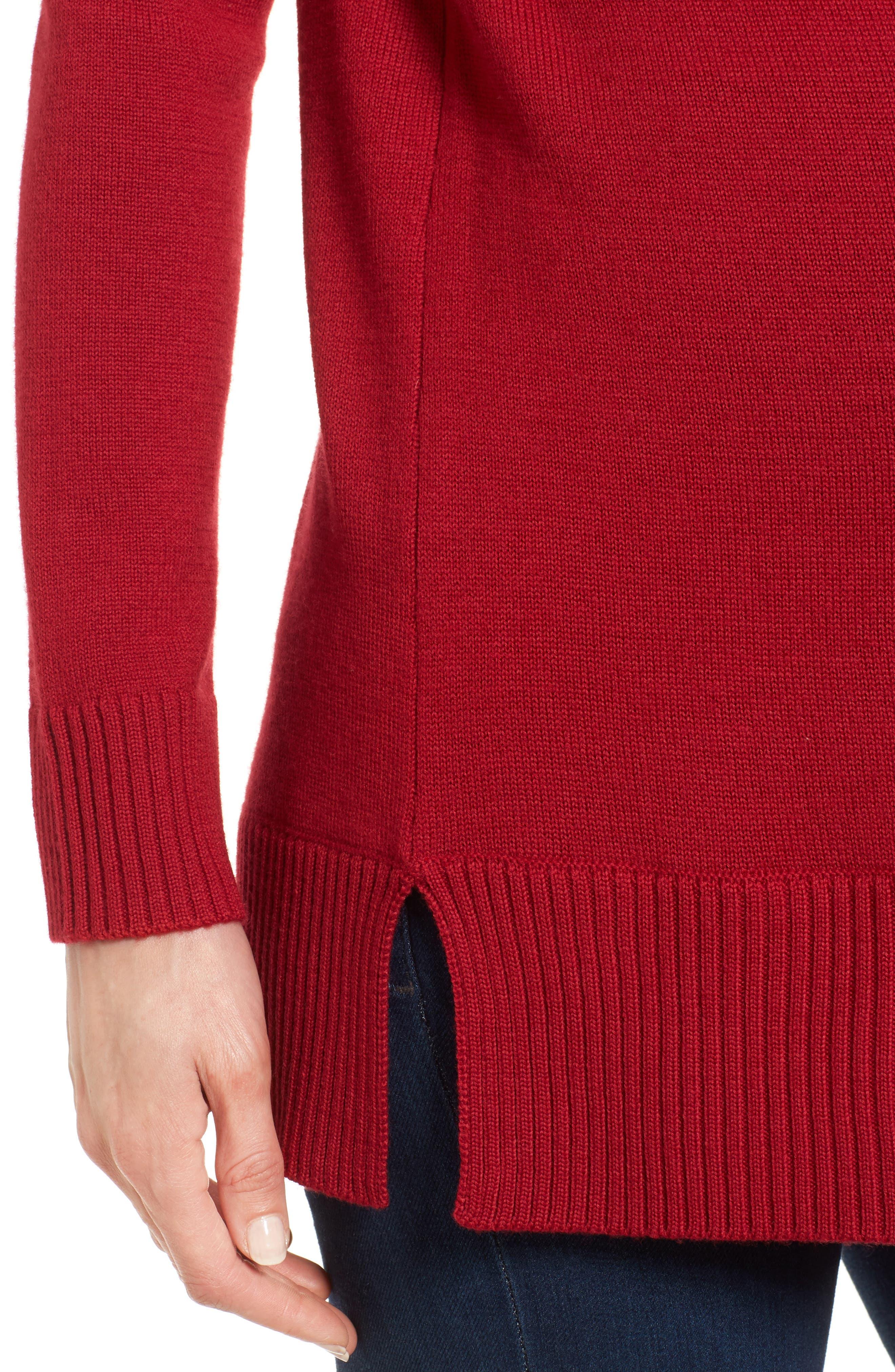 Tessa Turtleneck Wool Maternity Sweater,                             Alternate thumbnail 4, color,                             CARDAMOM RED