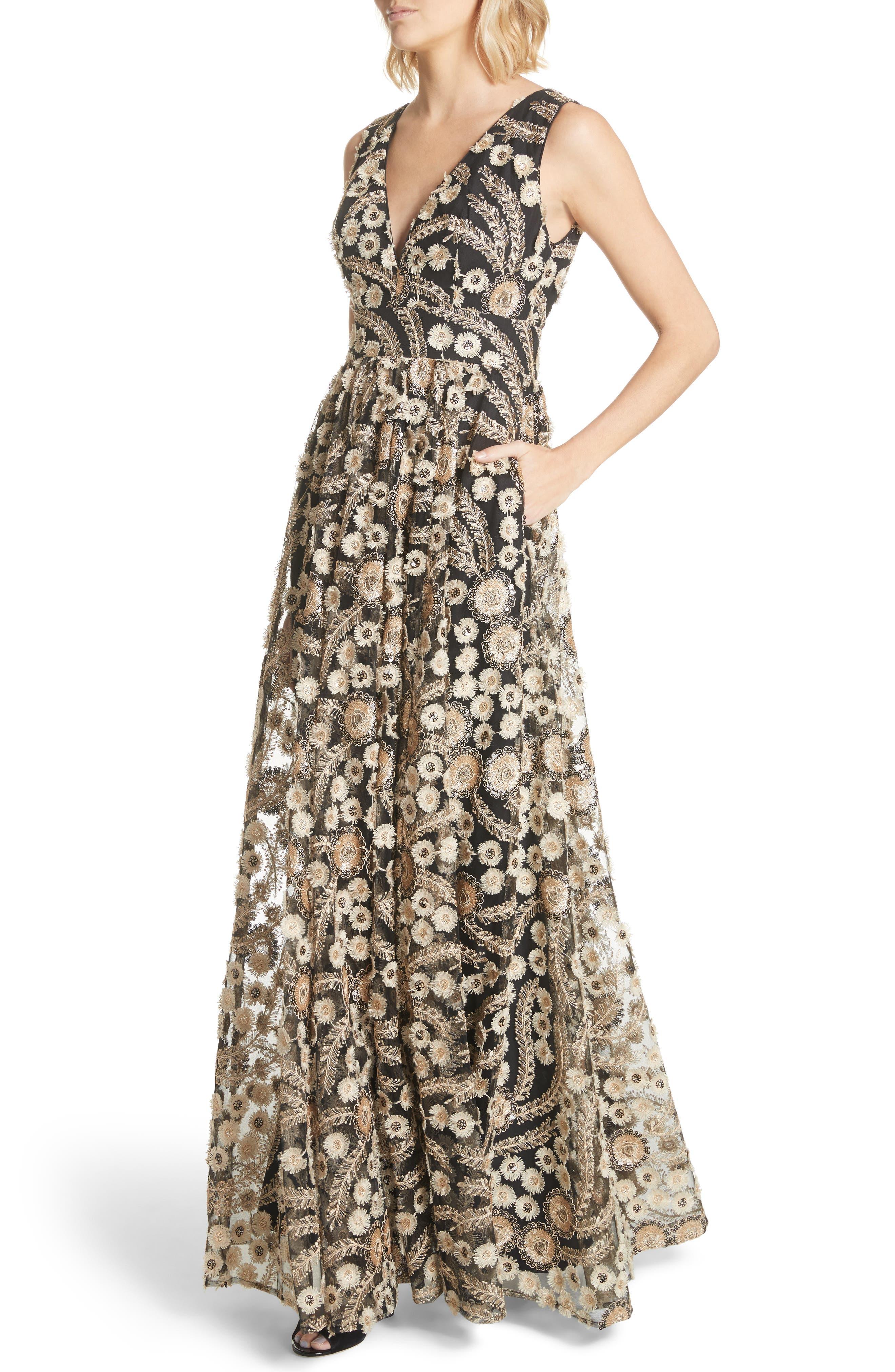 Embellished A-Line Maxi Dress,                             Alternate thumbnail 4, color,                             001