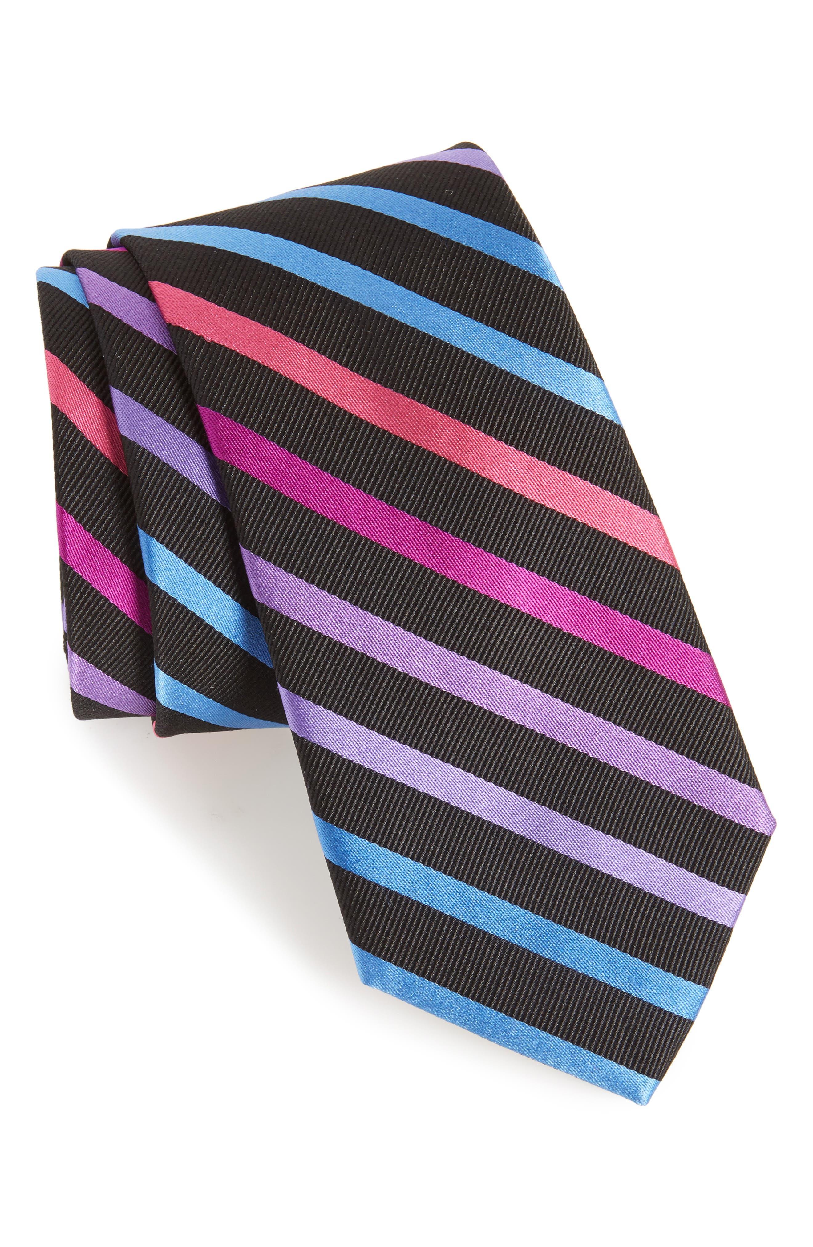 Simi Stripe Silk Tie,                         Main,                         color, BLACK