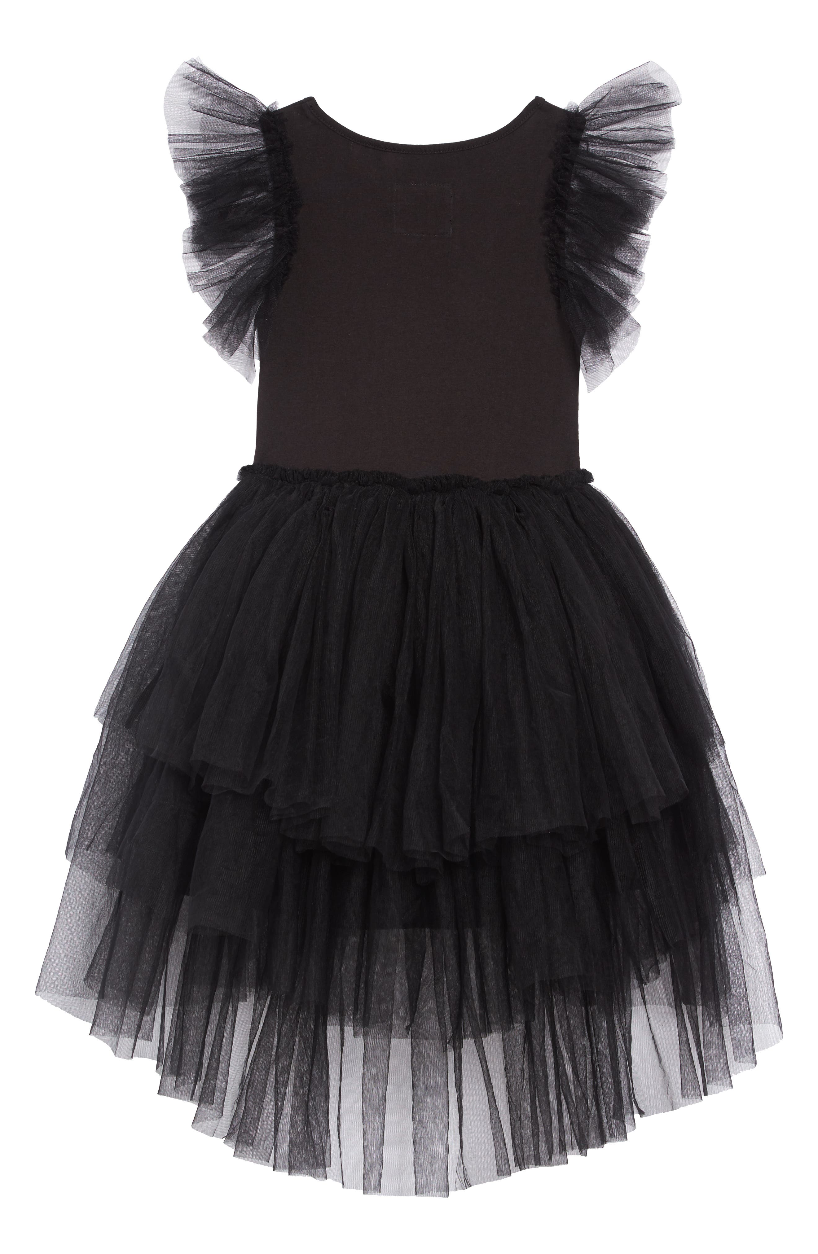 Sequin Embroidered Tulle Dress,                             Alternate thumbnail 2, color,                             BLACK