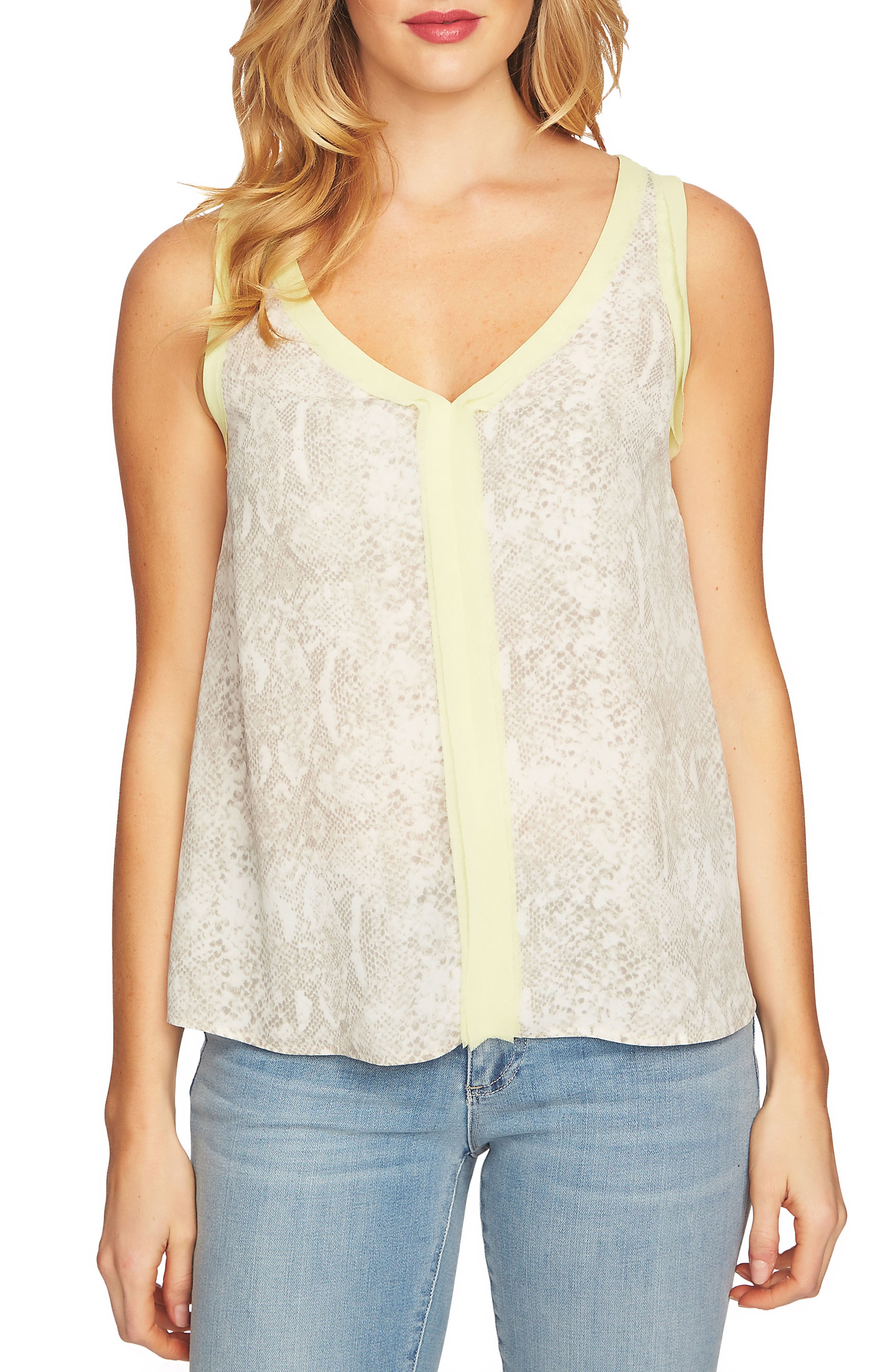 Chiffon Patterned Tank Top,                         Main,                         color,
