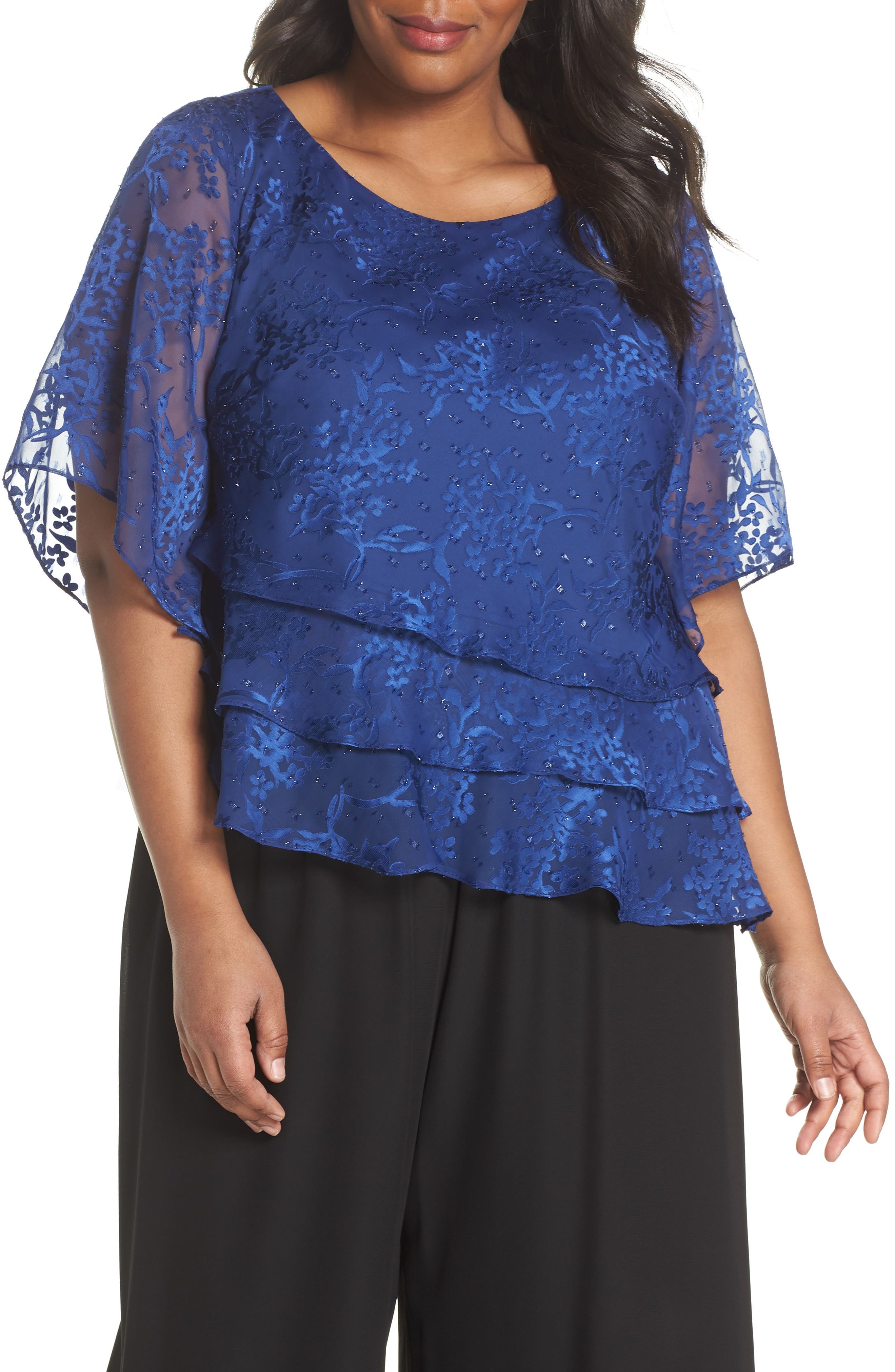 Embroidered Asymmetrical Top,                             Main thumbnail 2, color,