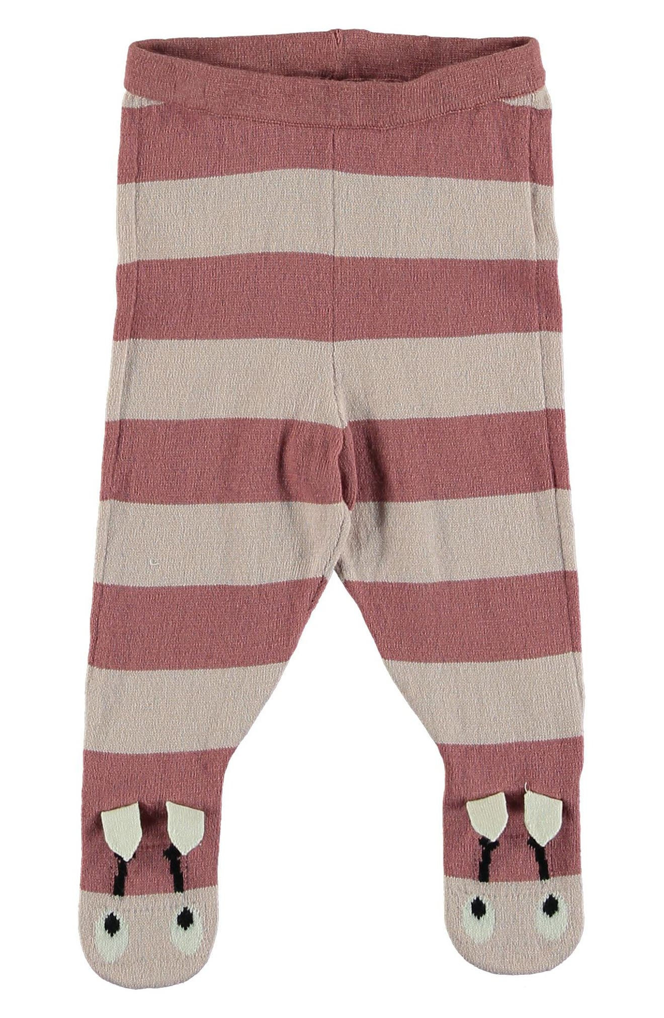Snowflake Stripe Footed Pants,                             Main thumbnail 1, color,                             PINK
