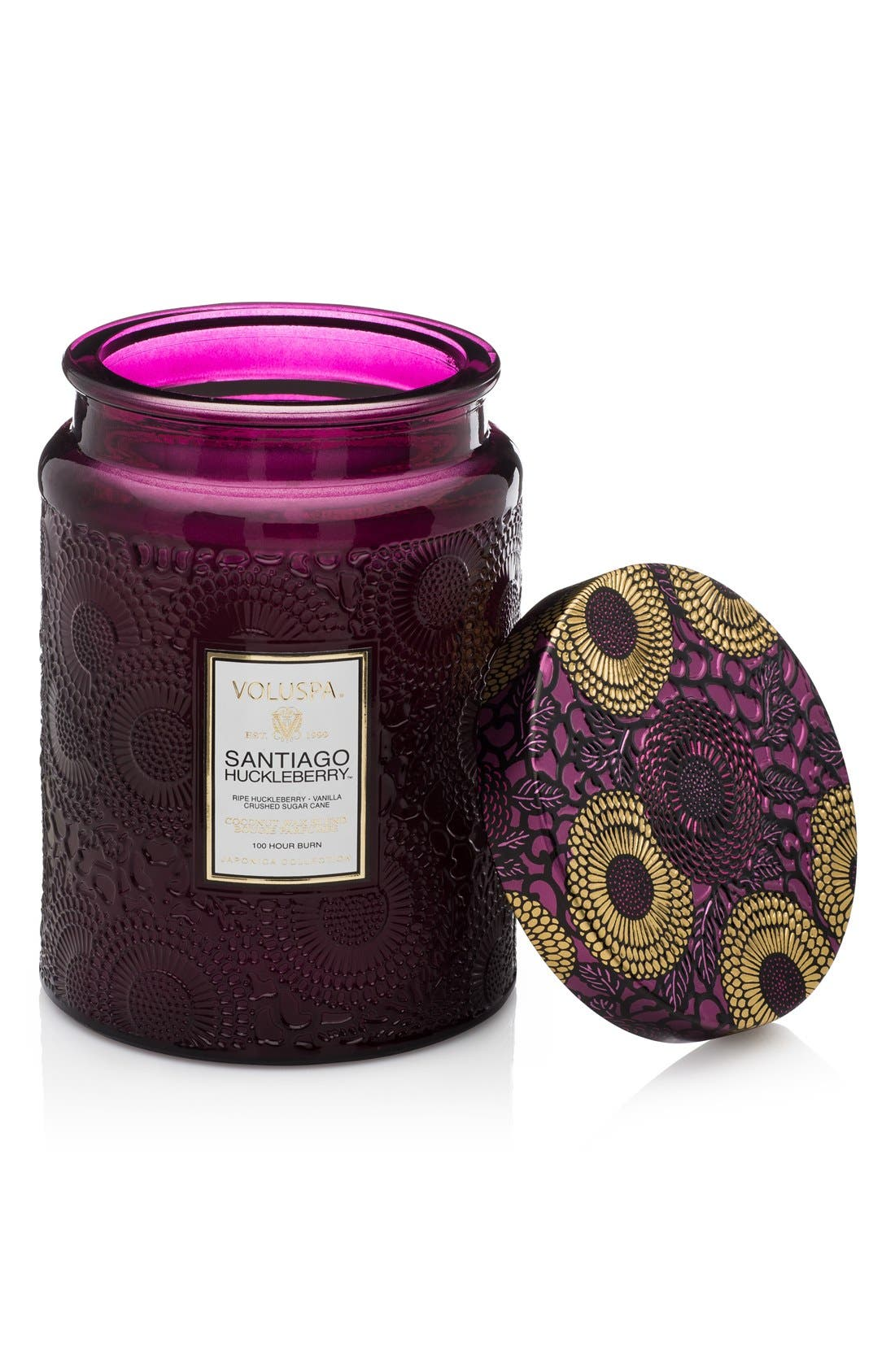 Japonica Santiago Huckleberry Large Embossed Glass Jar Candle,                         Main,                         color, NO COLOR