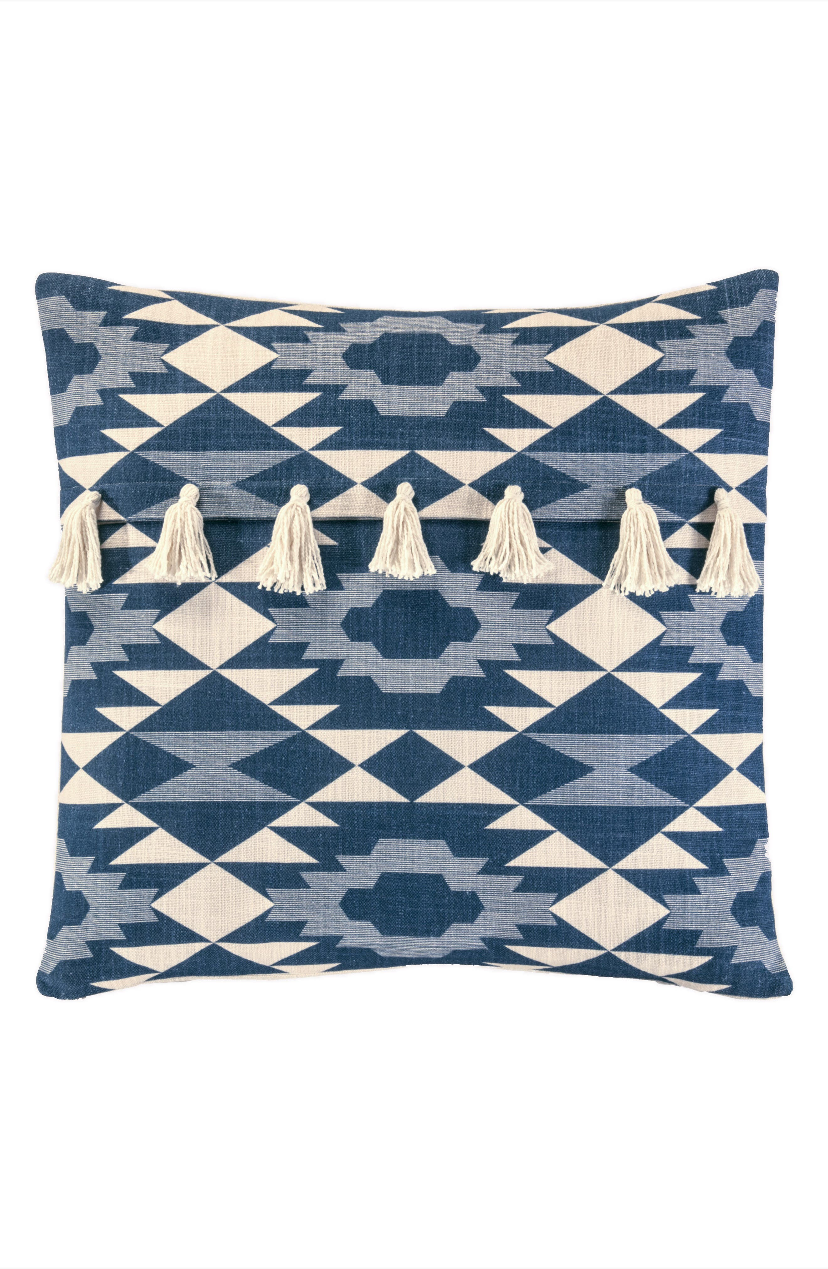 Yuma Star Printed Tassel Accent Pillow,                         Main,                         color, BLUE