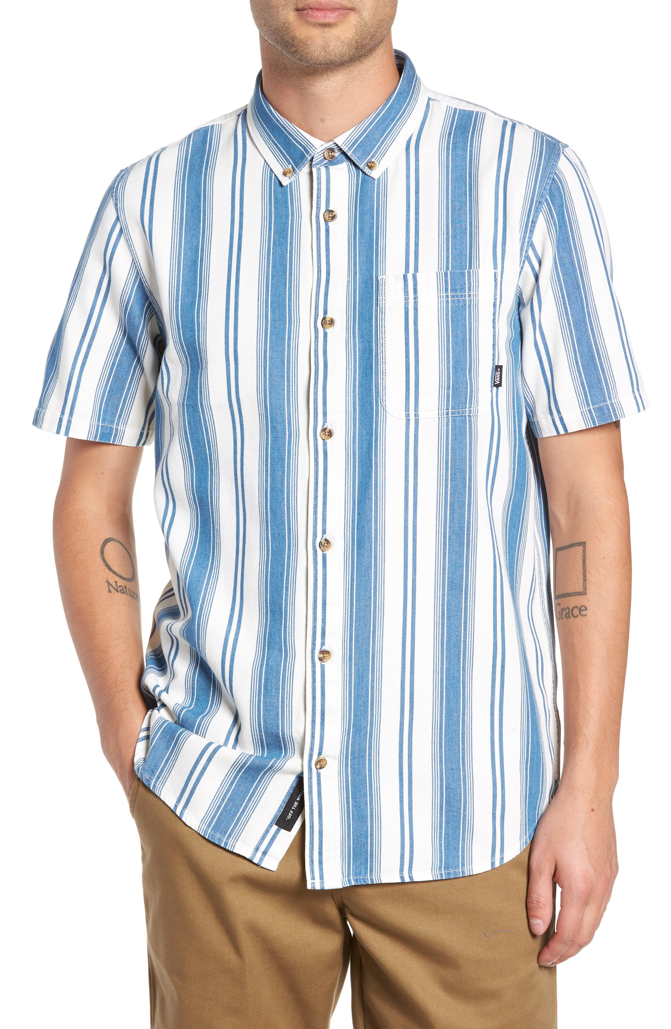 Linden Striped Woven Shirt,                         Main,                         color, INDIGO