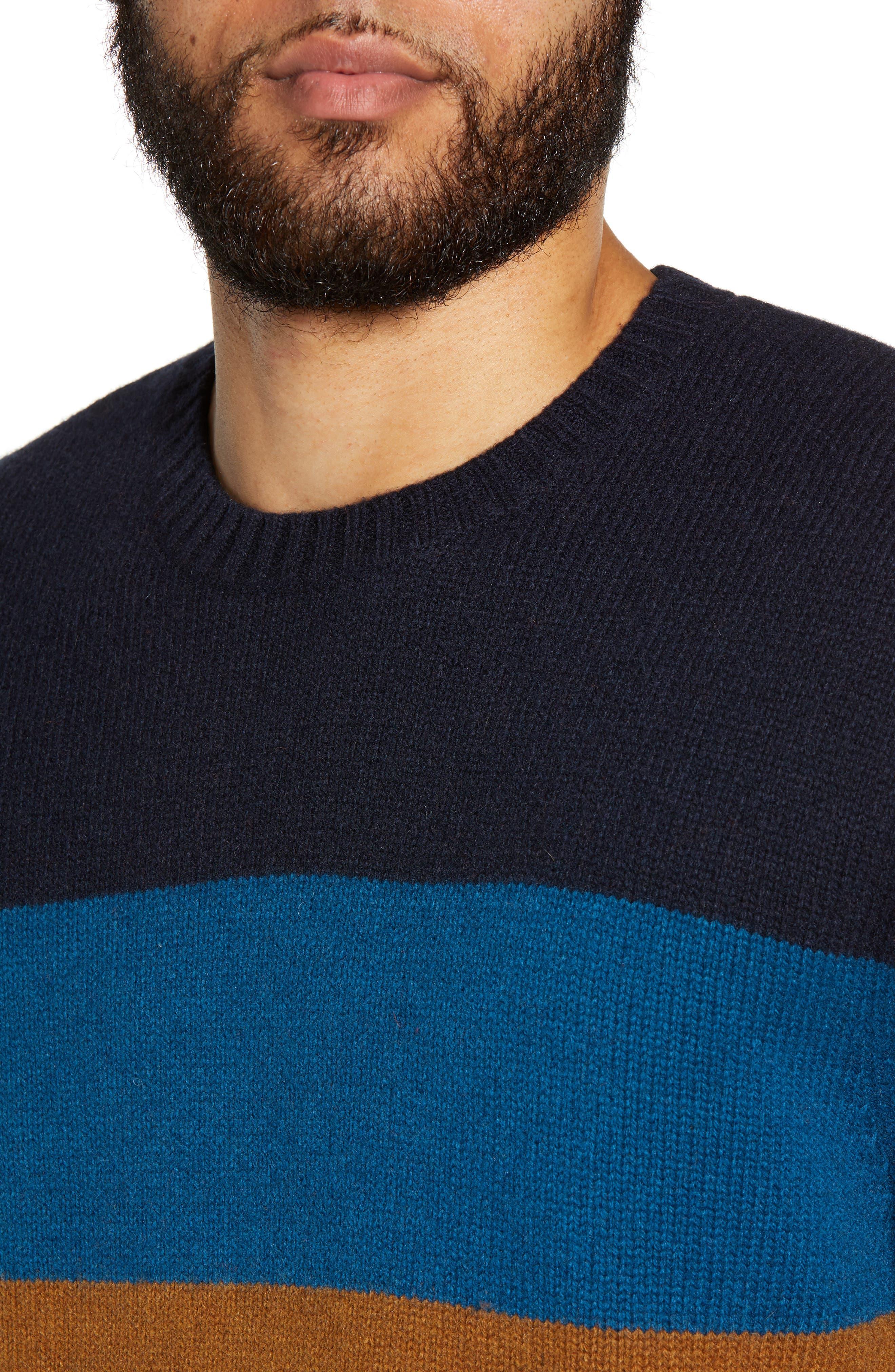 Goldner Stripe Wool Sweater,                             Alternate thumbnail 4, color,                             GOLD STRIPE DARK NAVY