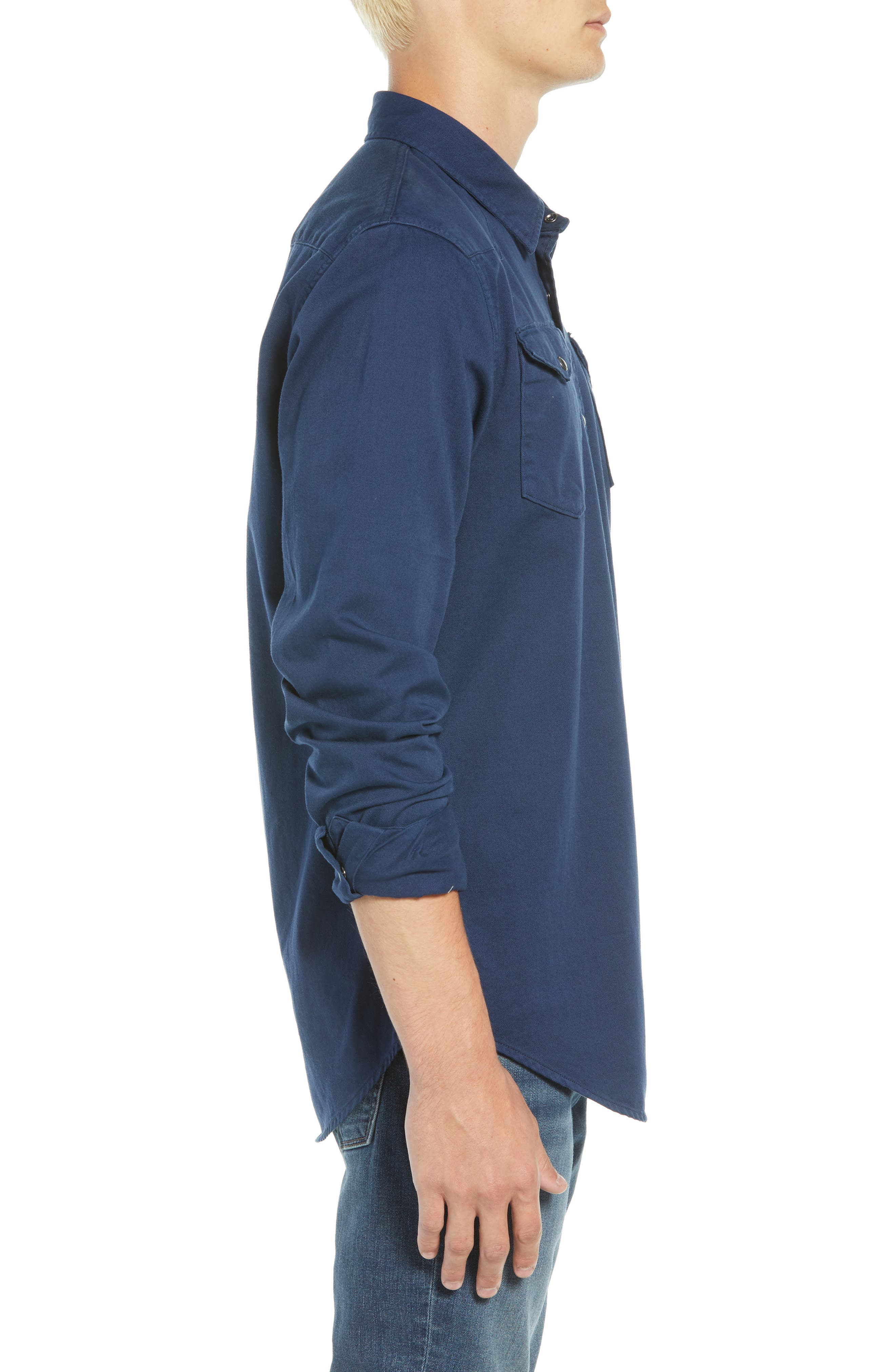Regular Fit Garment Dyed Shirt,                             Alternate thumbnail 4, color,                             DENIM BLUE