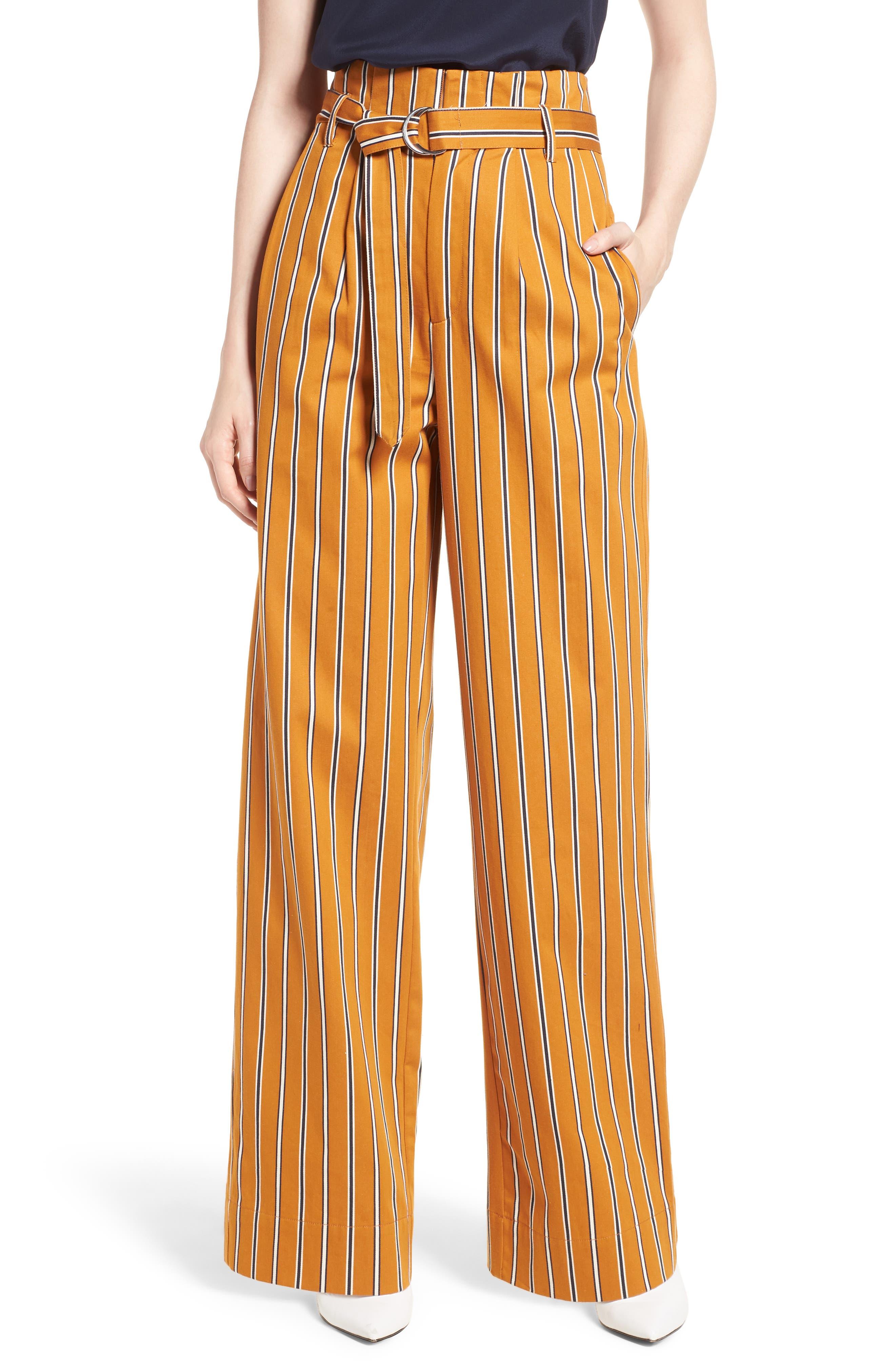 High Waist Wide Leg Stripe Pants,                         Main,                         color, 866
