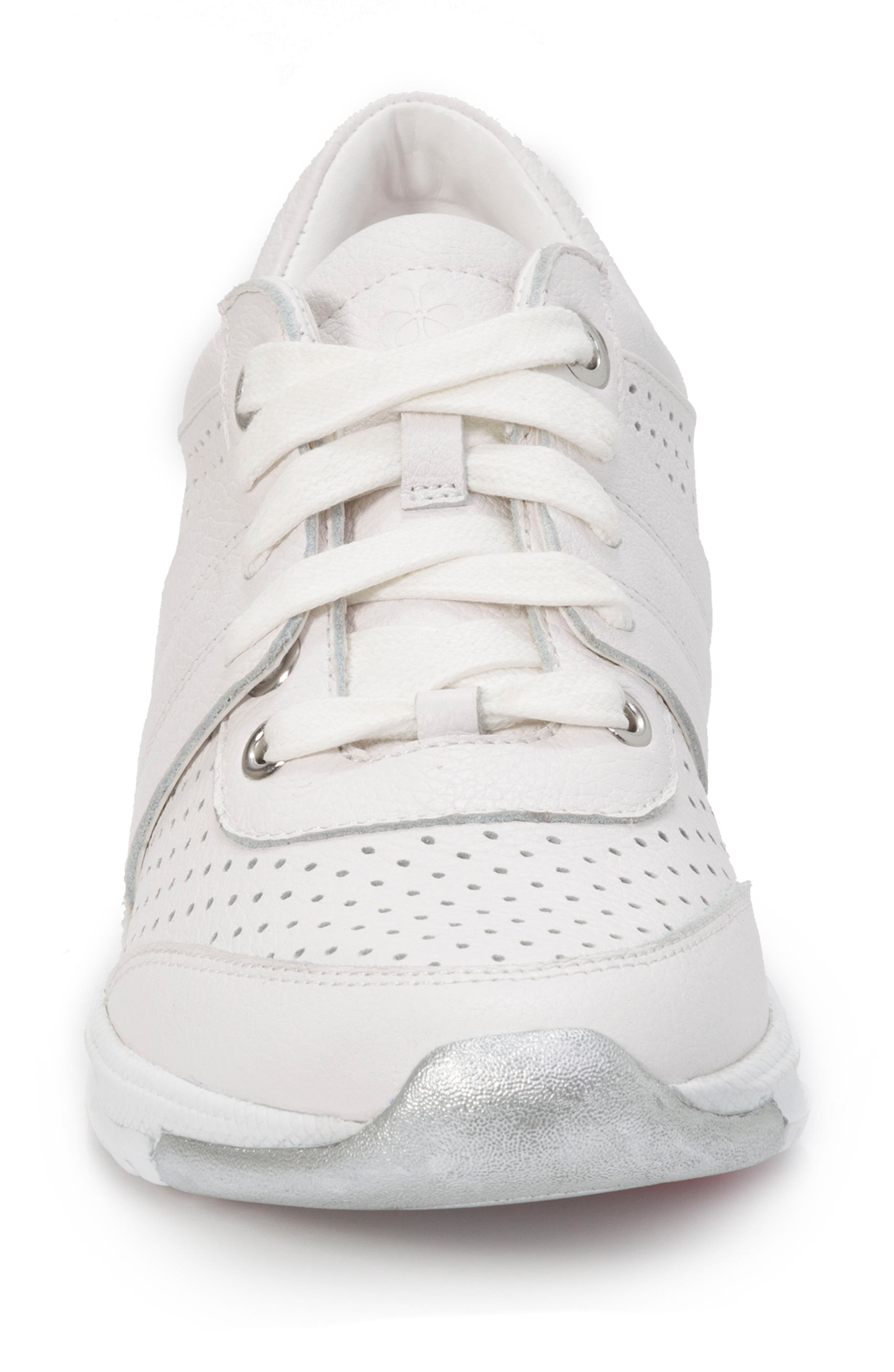 FOOT PETALS,                             Bea Sneaker,                             Alternate thumbnail 4, color,                             WHITE LEATHER