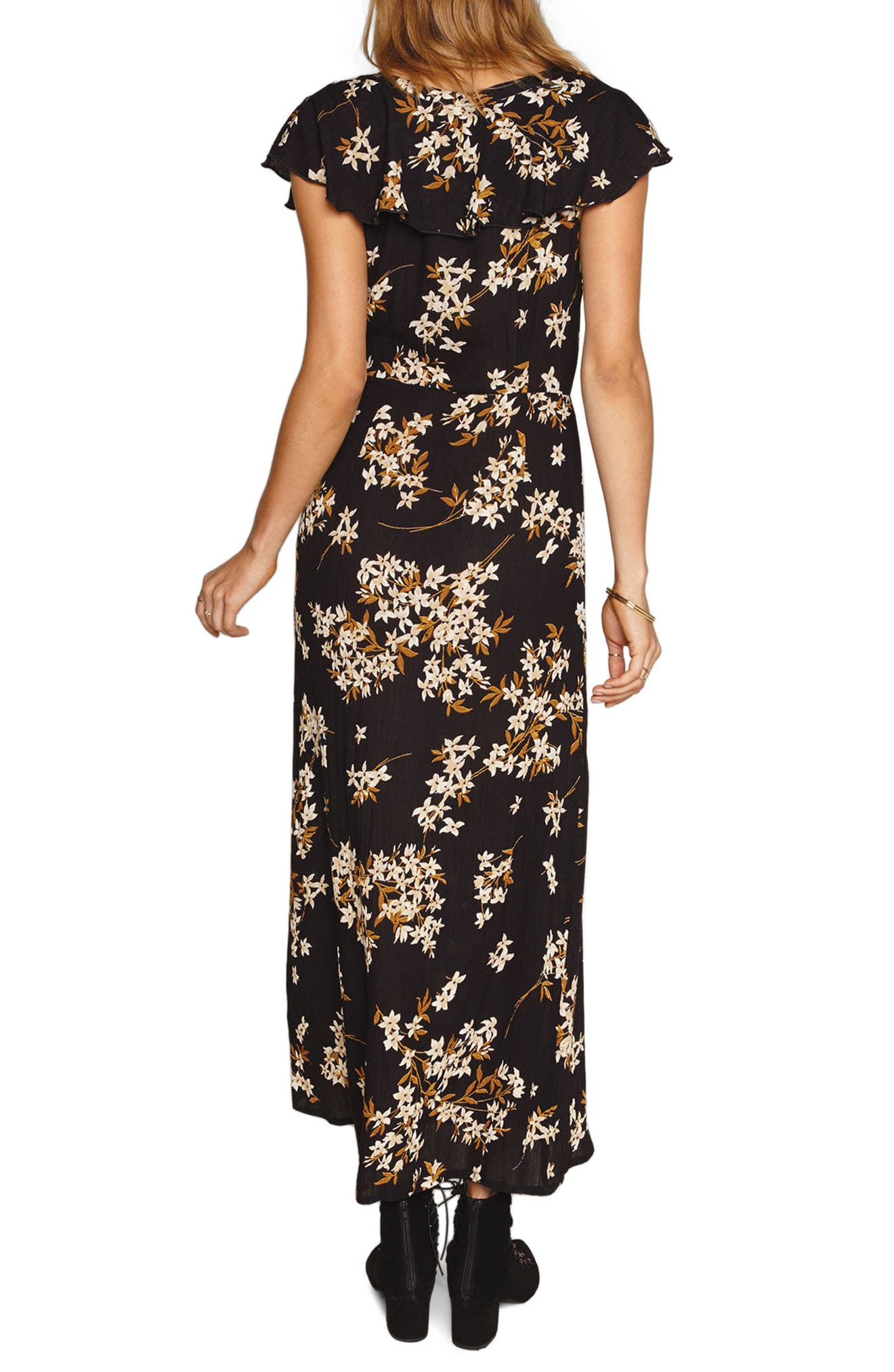 Alana Floral Lace-Up Dress,                             Alternate thumbnail 2, color,                             001