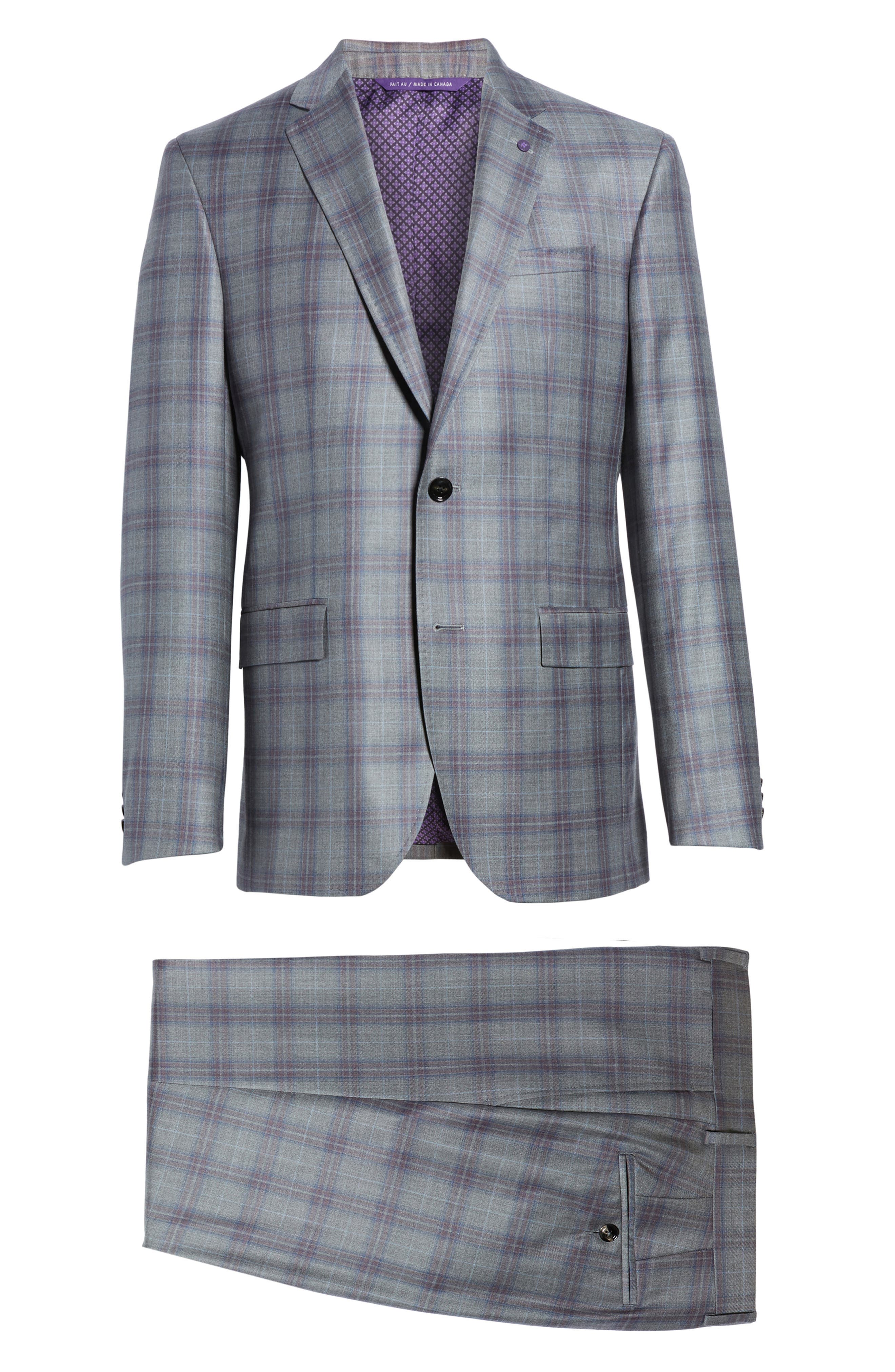 Jay Trim Fit Plaid Wool Suit,                             Alternate thumbnail 8, color,                             020