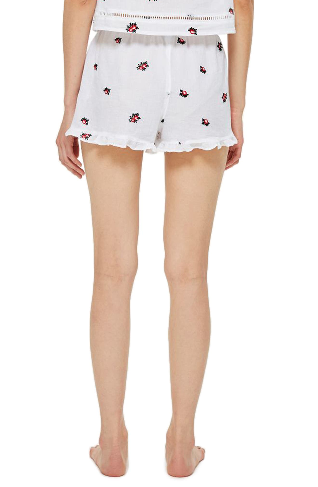 Ruffle Pajama Shorts,                             Alternate thumbnail 2, color,                             WHITE MULTI