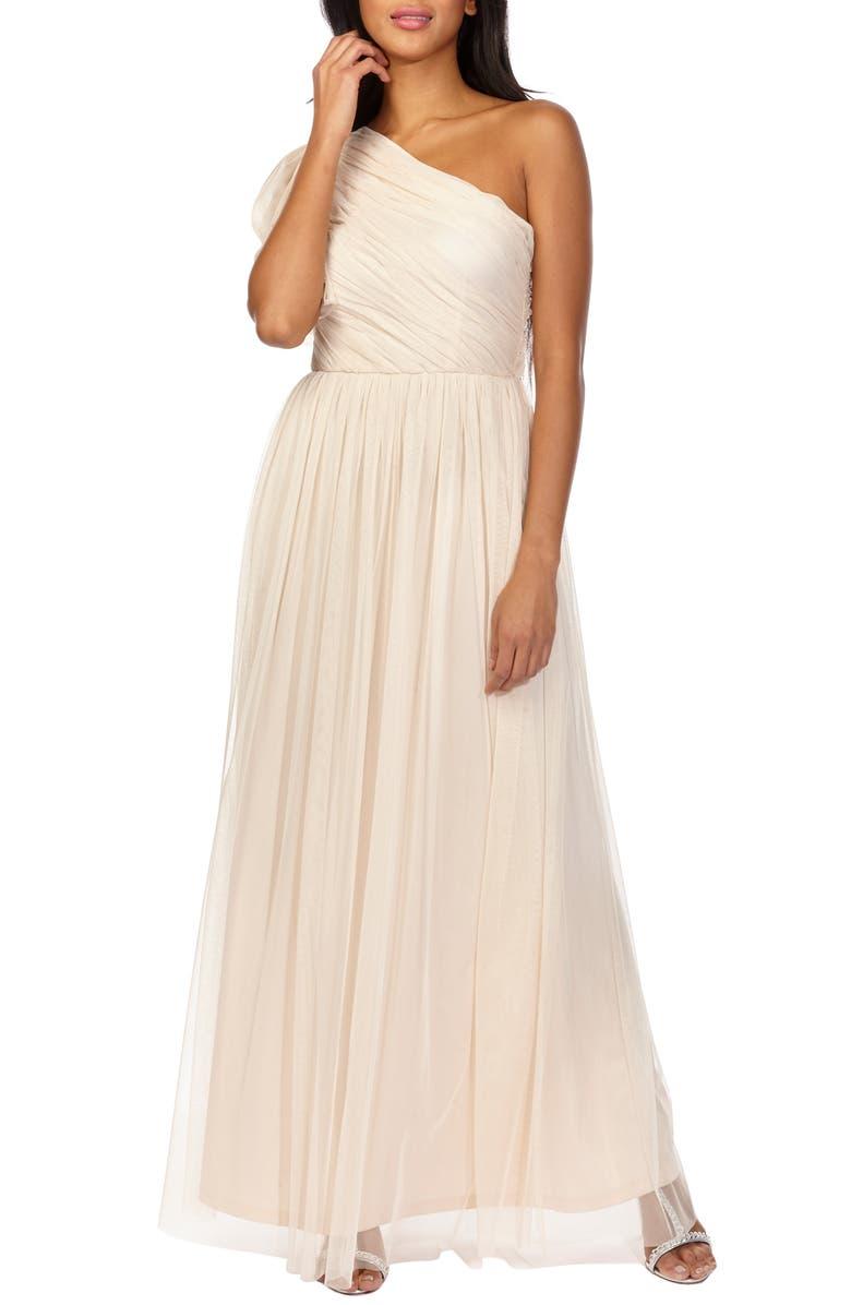 Lara One-Shoulder Tulle Evening Dress