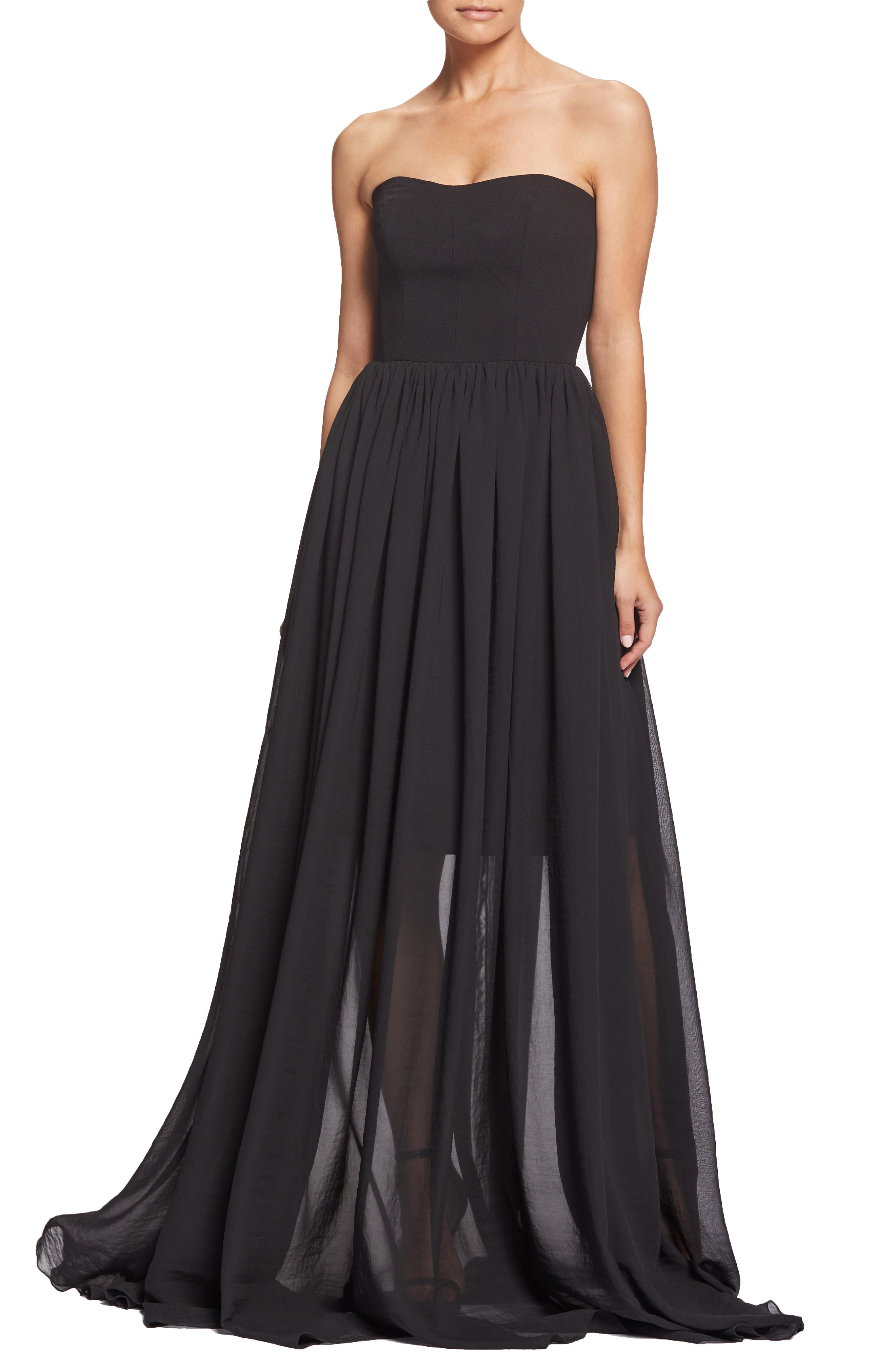 Dress The Population Ella Strapless Crepe Chiffon Gown, Black