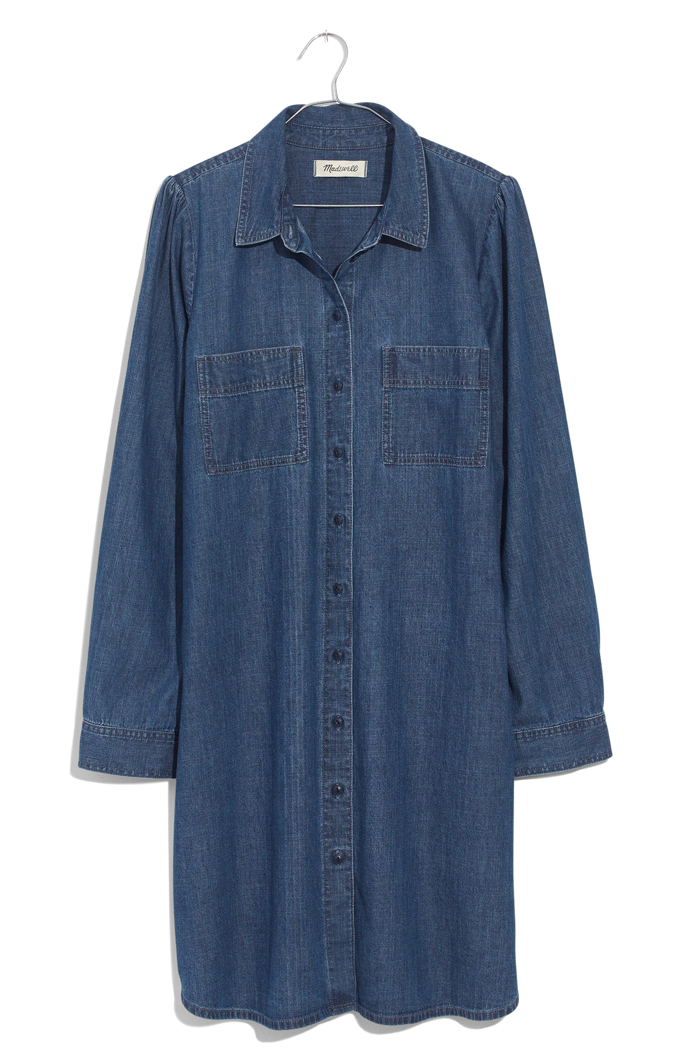 Puff Sleeve Denim Shirtdress,                             Alternate thumbnail 6, color,                             HARRIS WASH