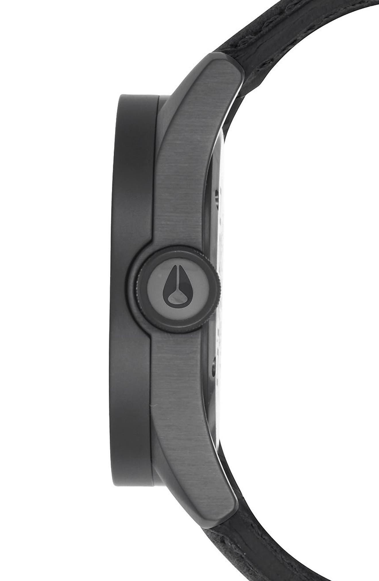 'Safari' Leather Strap Watch, 43mm,                             Alternate thumbnail 4, color,                             001