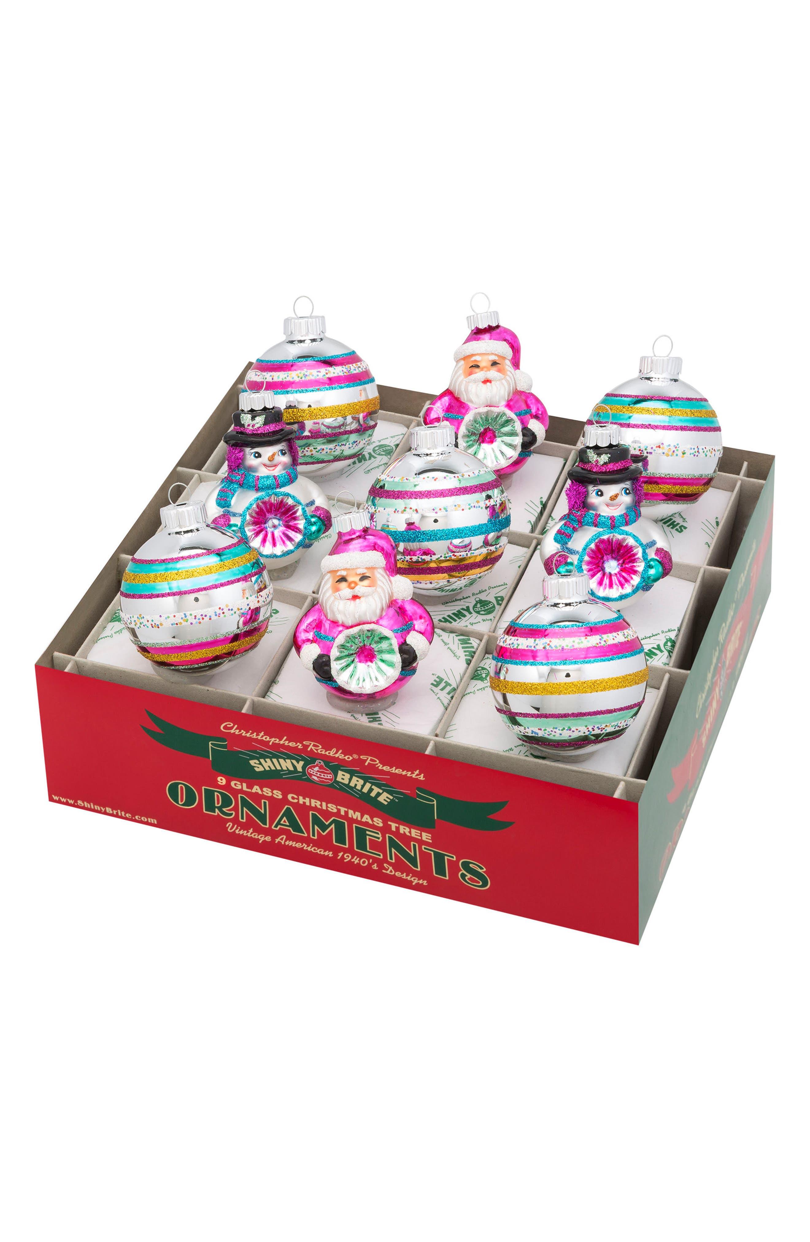 Vintage Set of 9 Glass Ornaments,                         Main,                         color, 600