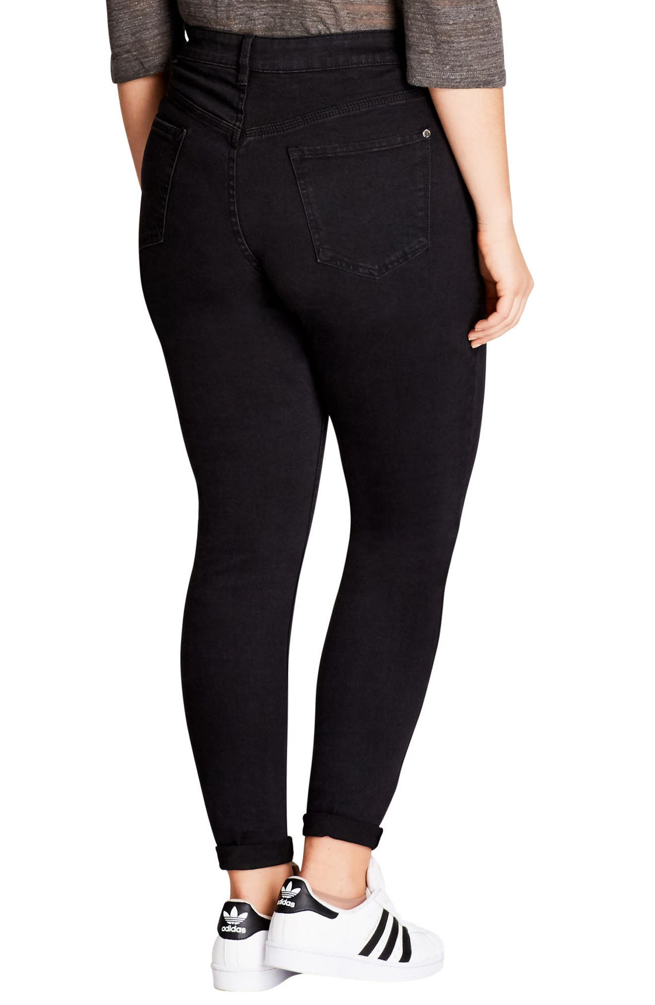 CITY CHIC,                             Rock 'n' Roll Destroyed Skinny Jeans,                             Alternate thumbnail 2, color,                             BLACK
