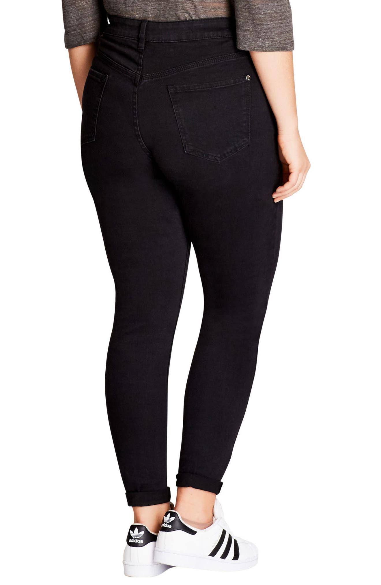 Rock 'n' Roll Destroyed Skinny Jeans,                             Alternate thumbnail 2, color,                             BLACK