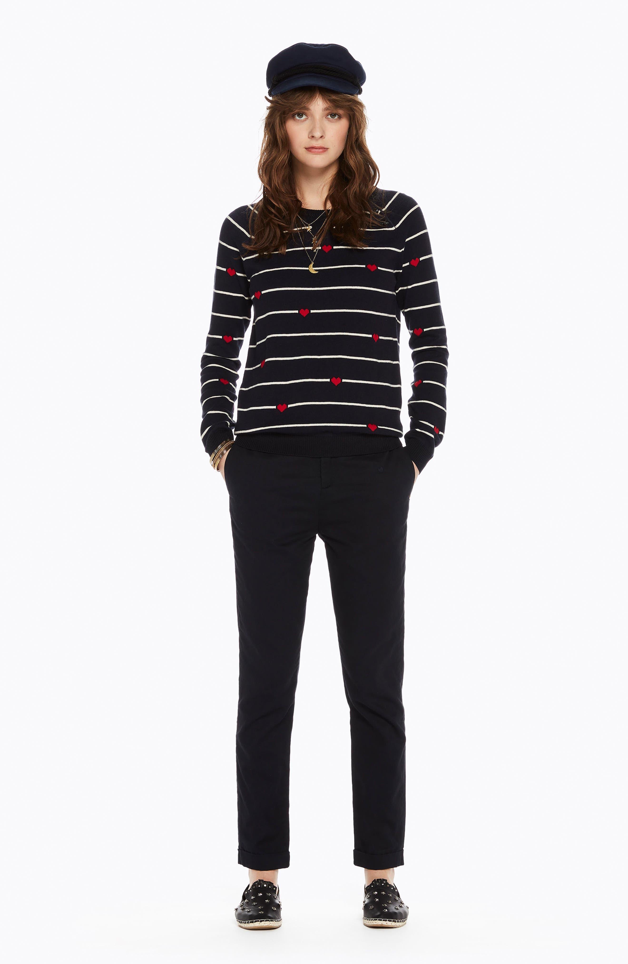 Button Detail Heart Stripe Sweater,                             Alternate thumbnail 6, color,                             18 COMBO B