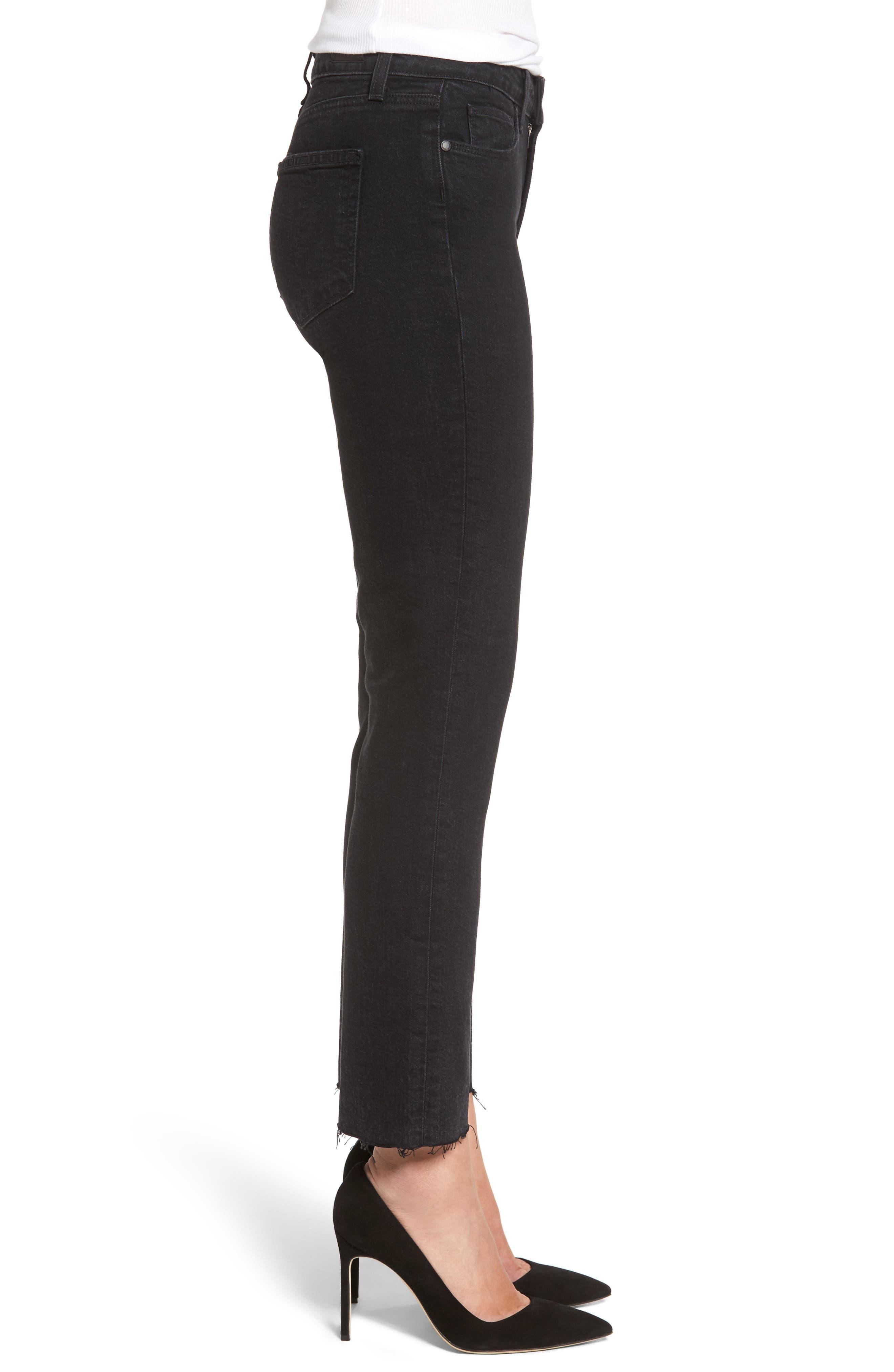 Jacqueline High Waist Crop Straight Leg Jeans,                             Alternate thumbnail 3, color,                             001