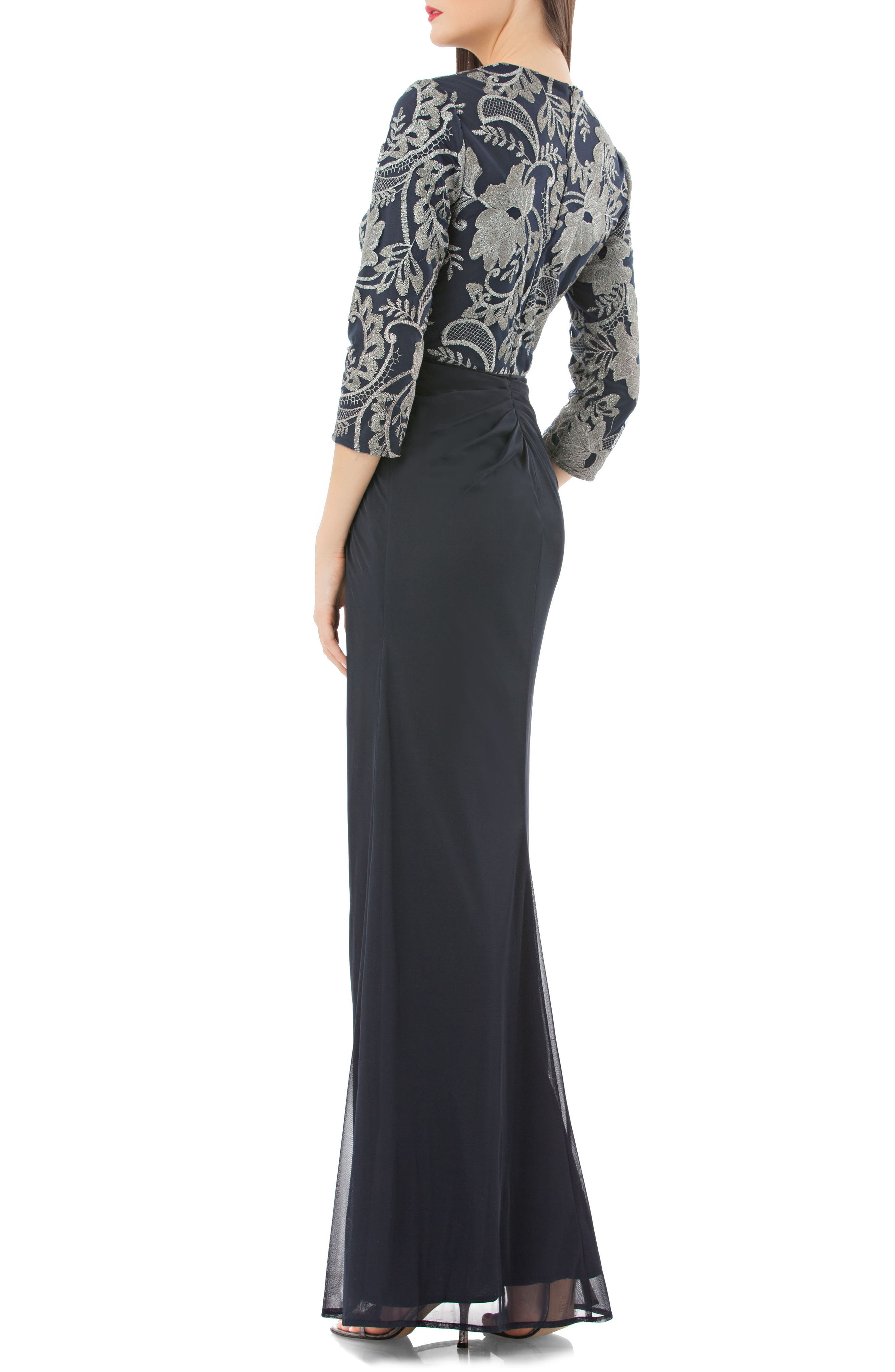 Metallic Embroidered Column Gown,                             Alternate thumbnail 2, color,                             417