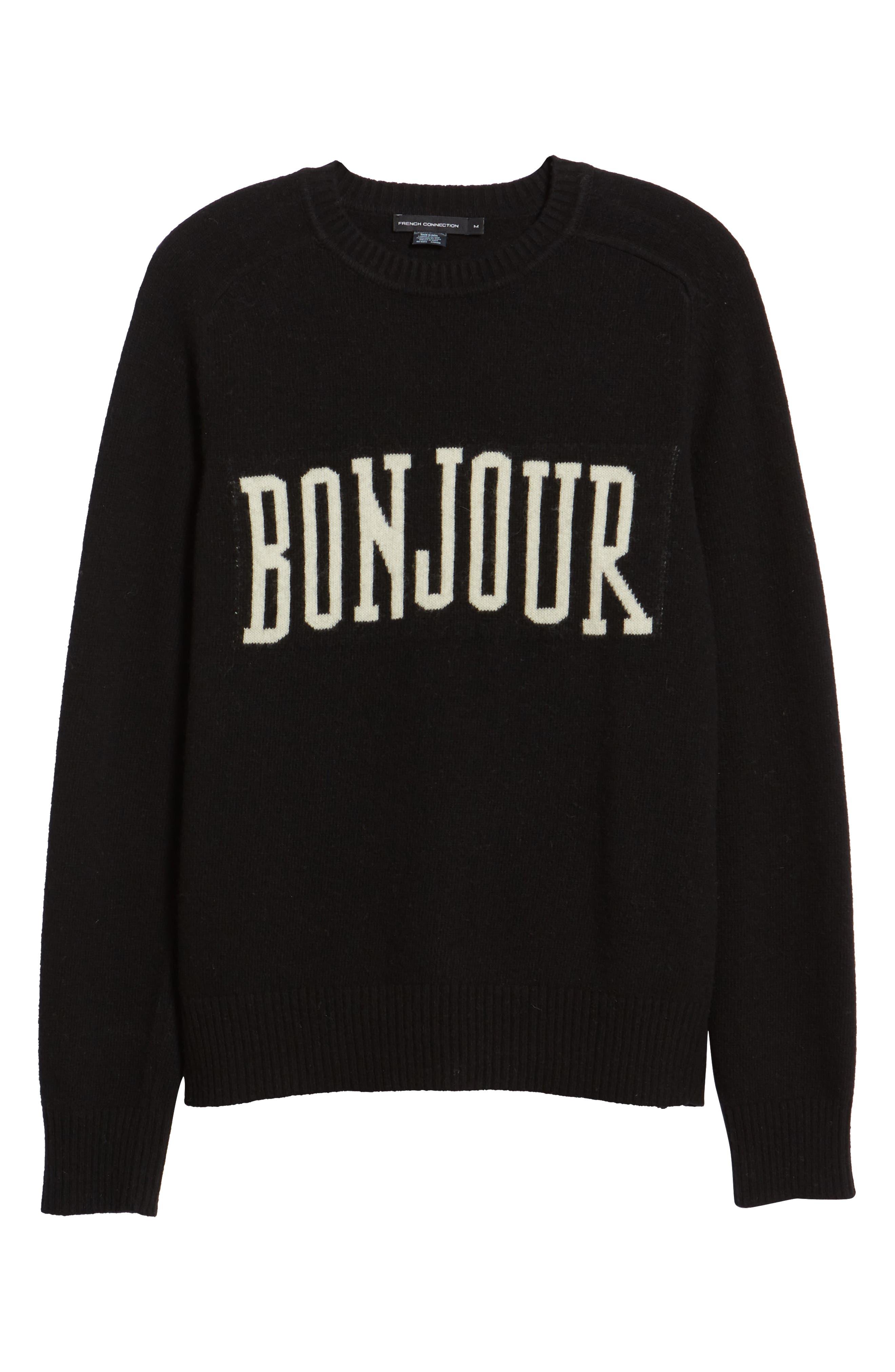 Bonjour Wool Blend Sweater,                             Alternate thumbnail 6, color,                             BLACK WHITECAP GREY