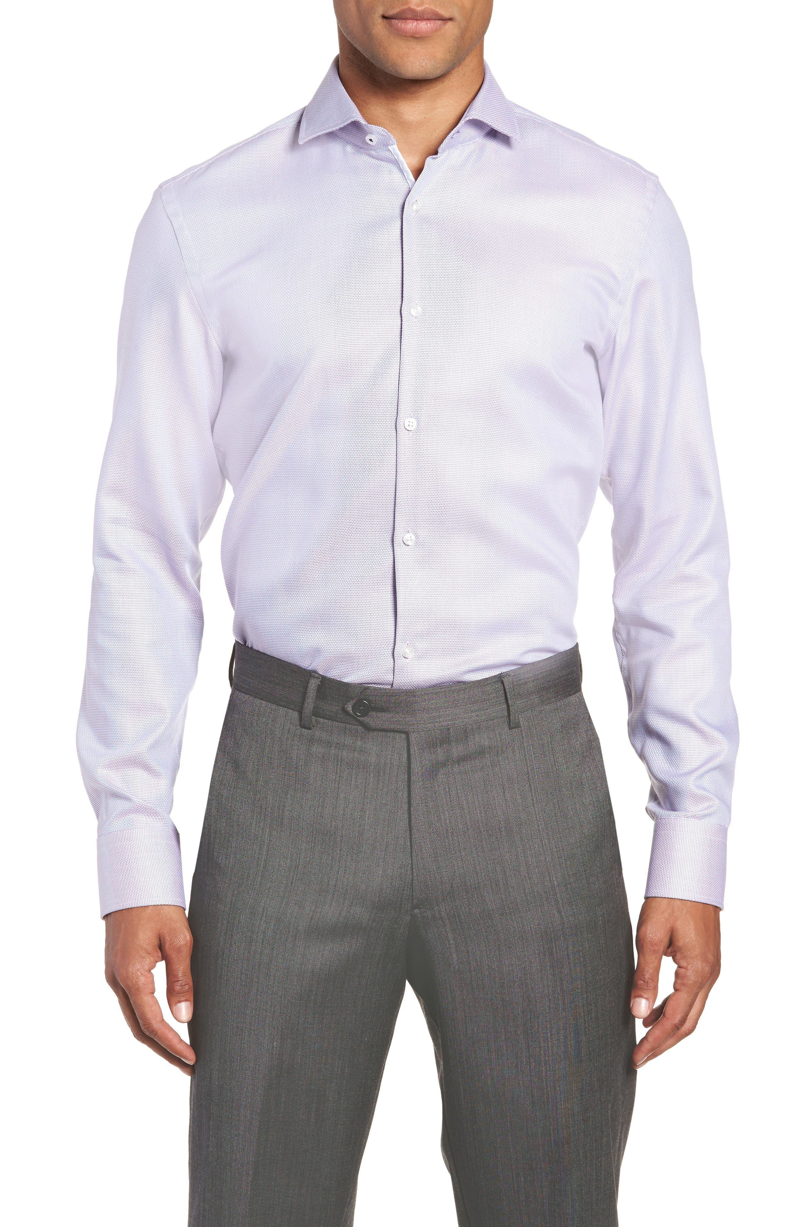 BOSS x Nordstrom Jerrin Slim Fit Solid Dress Shirt, Main, color, LAVENDER